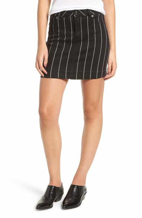 Tinsel Stripe Denim Miniskirt by TINSEL