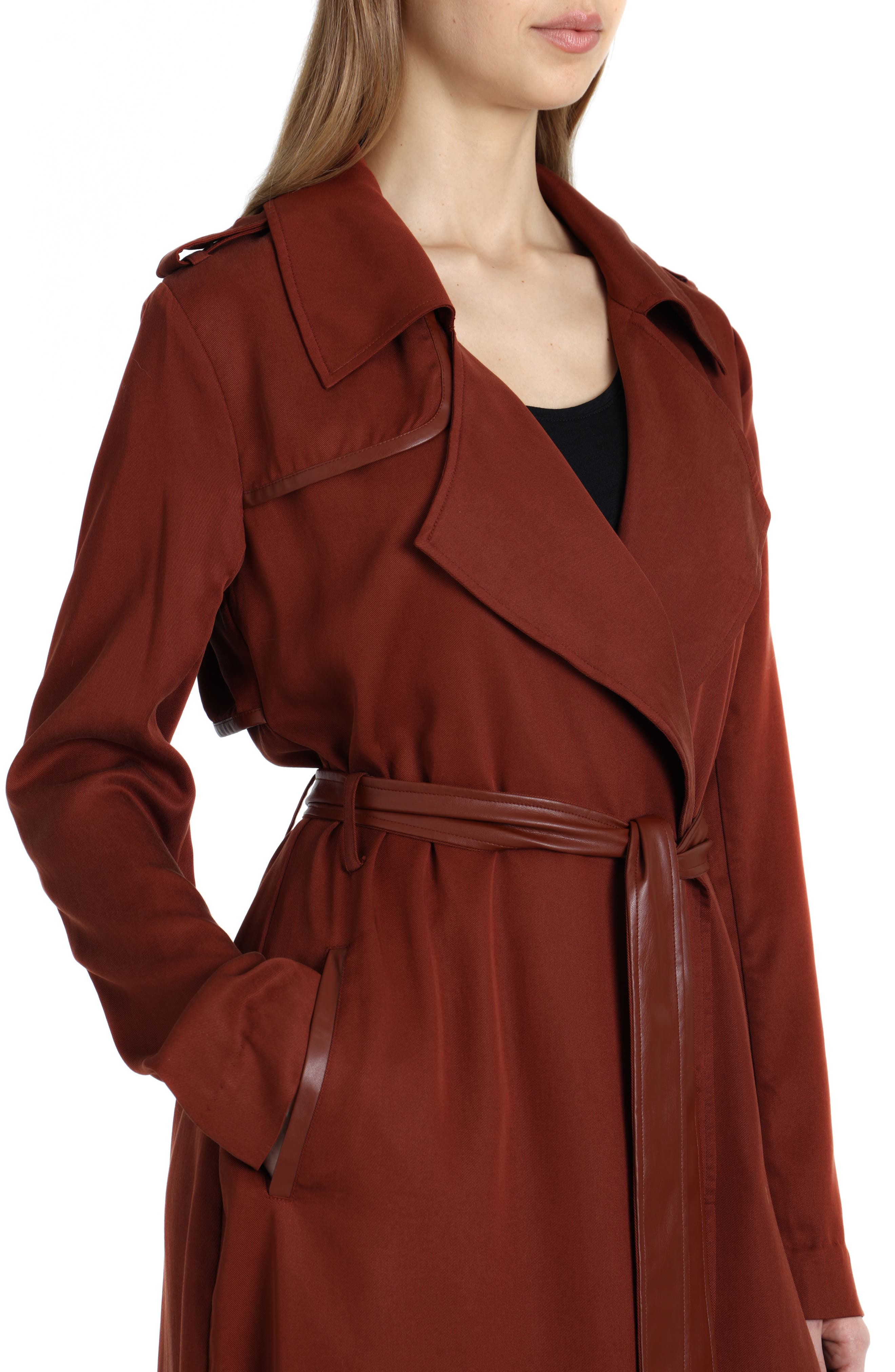 Faux Leather Trim Long Trench Coat,                             Alternate thumbnail 4, color,                             Sahara