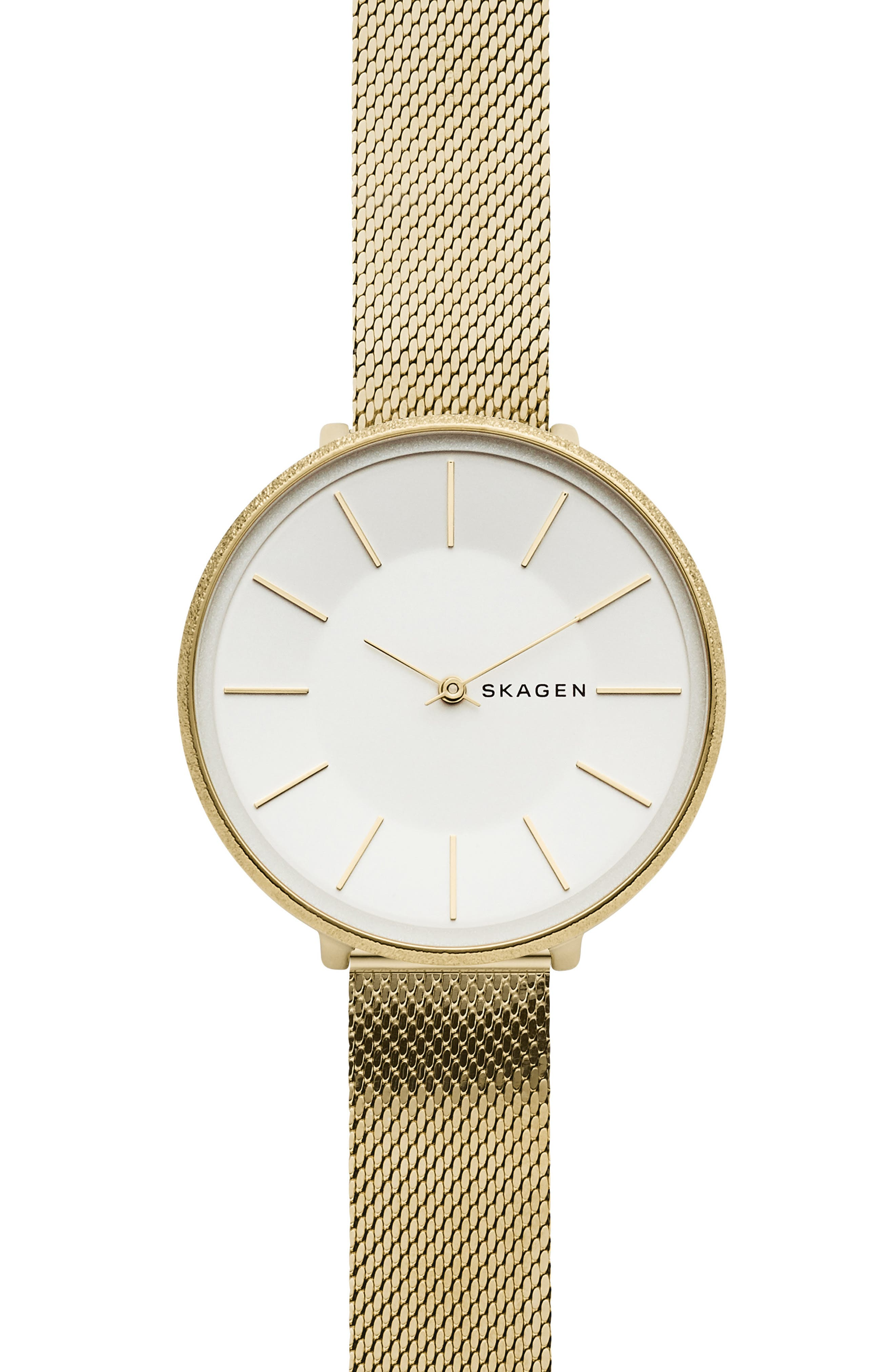 SKAGEN KAROLINA GOLD-TONE STAINLESS STEEL MESH BRACELET WATCH 38MM