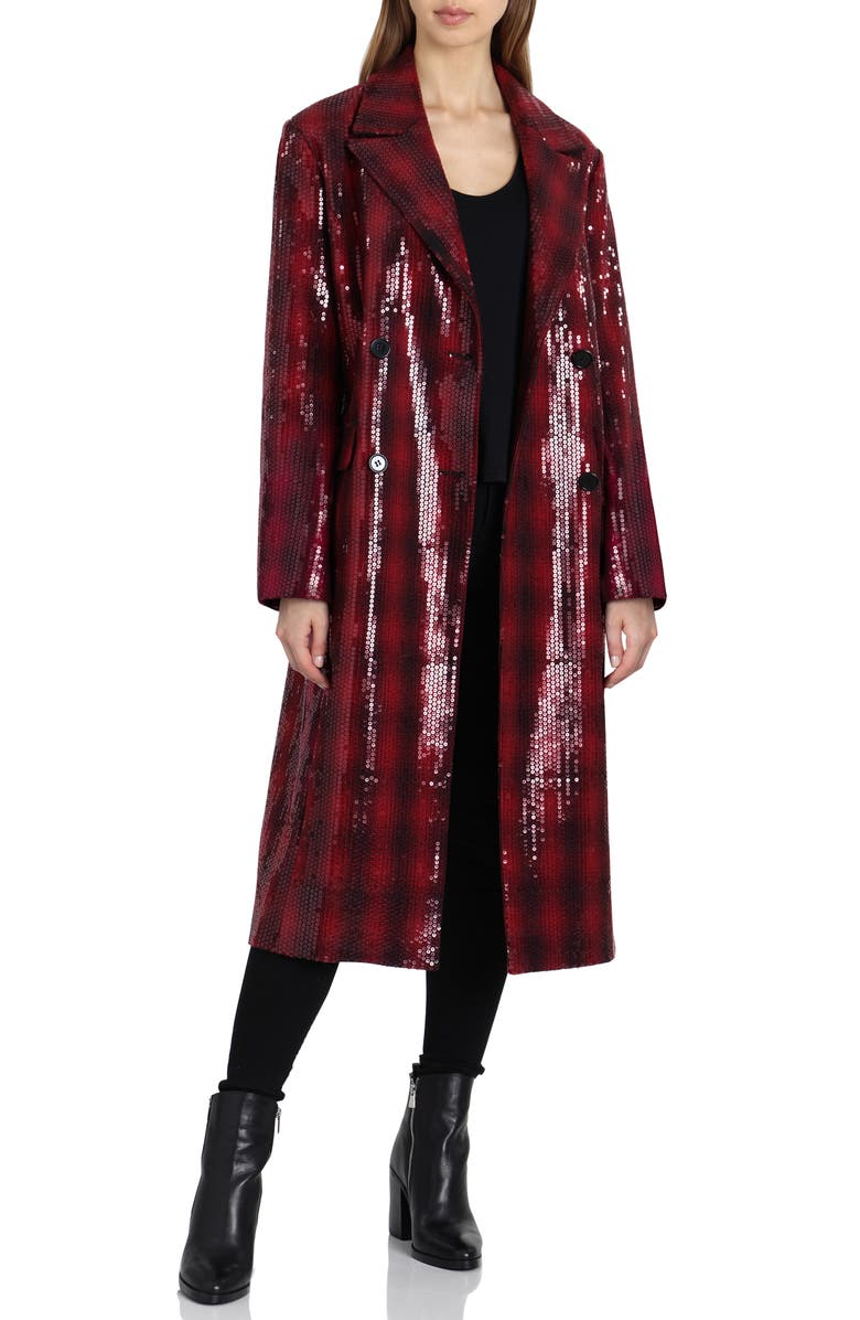 Sequin Plaid Double Breasted Coat,                         Main,                         color, Red/ Black