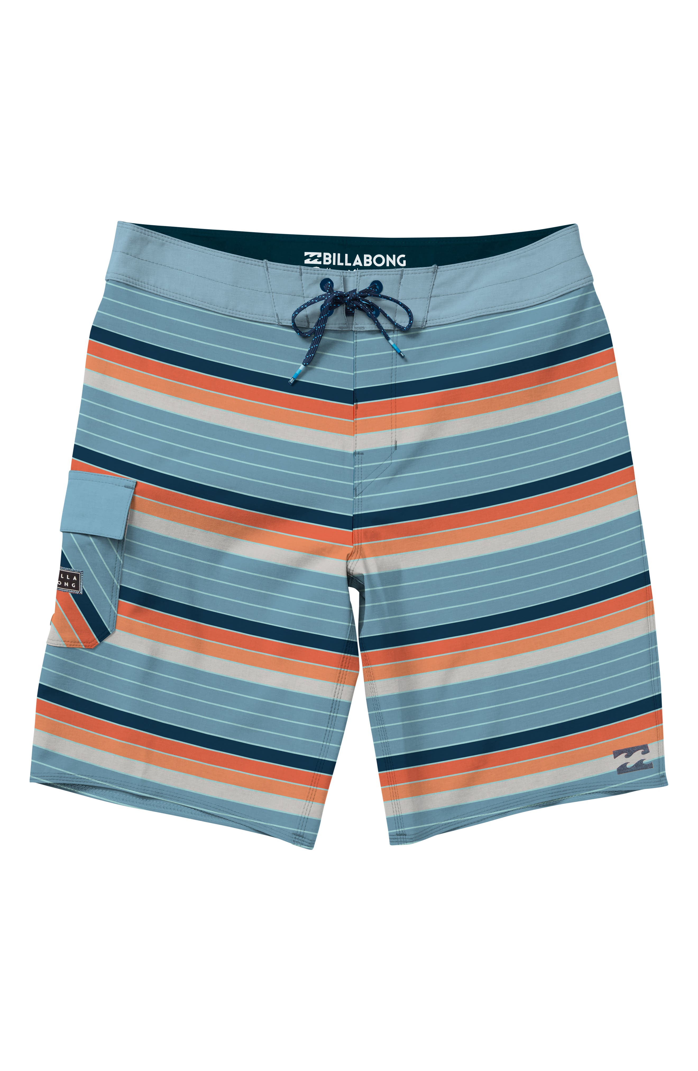 All Day OG Stripe Board Shorts,                         Main,                         color, Coral