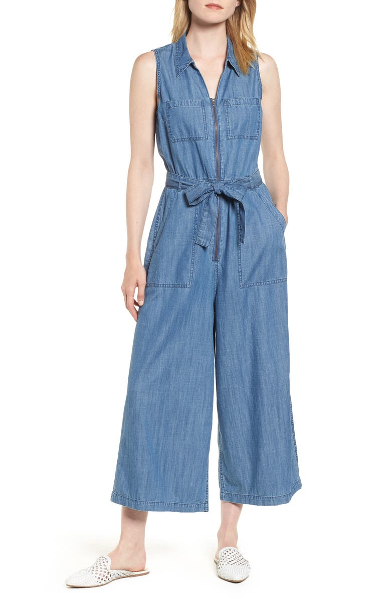 Zip-Front Chambray Jumpsuit