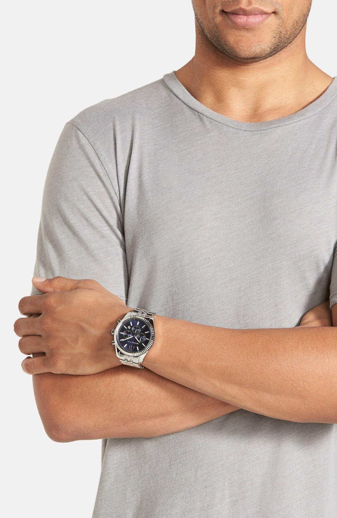 'Large Lexington' Chronograph Bracelet Watch, 45mm,                             Alternate thumbnail 5, color,                             Silver/ Navy