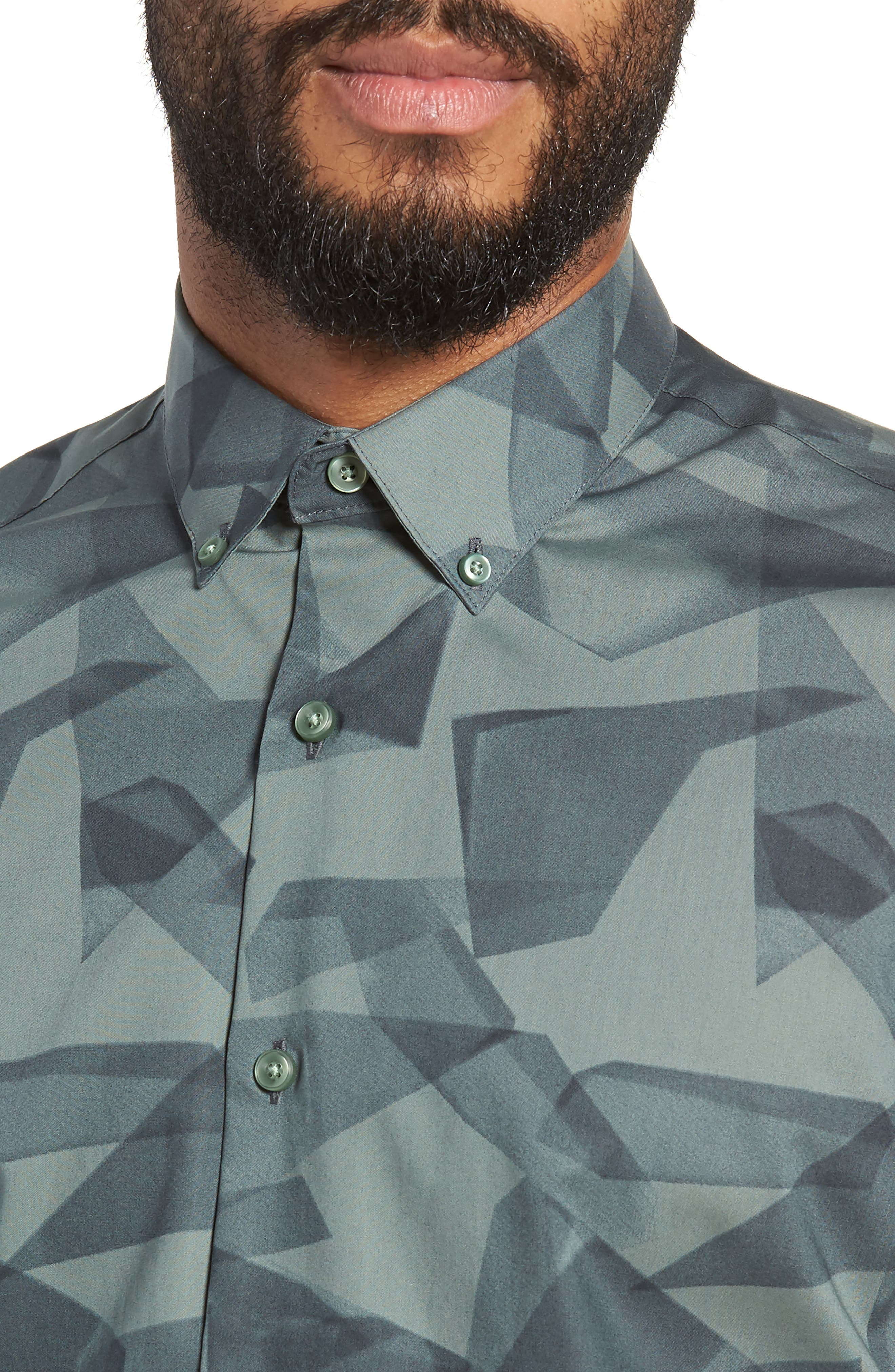 Geo Print Sport Shirt,                             Alternate thumbnail 2, color,                             Green Hedge Stain Glass