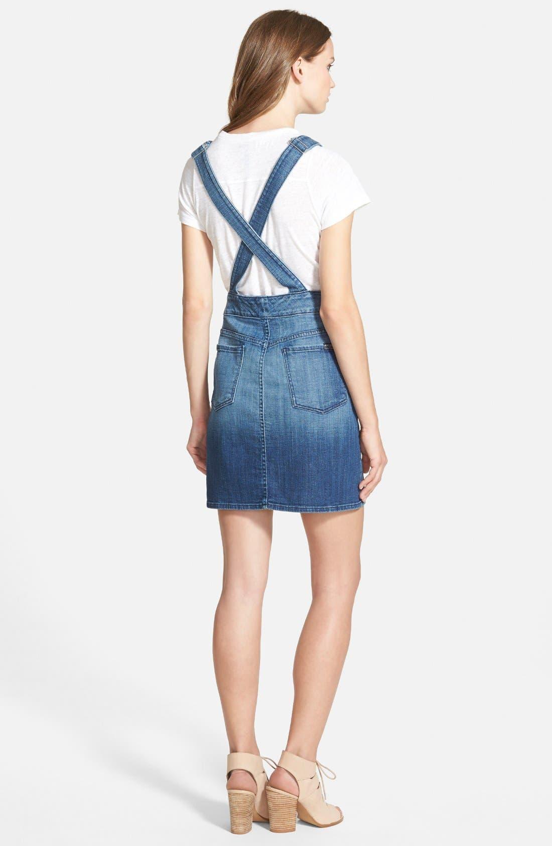 Denim Overall Skirt,                             Alternate thumbnail 2, color,                             Medium Broken Twill