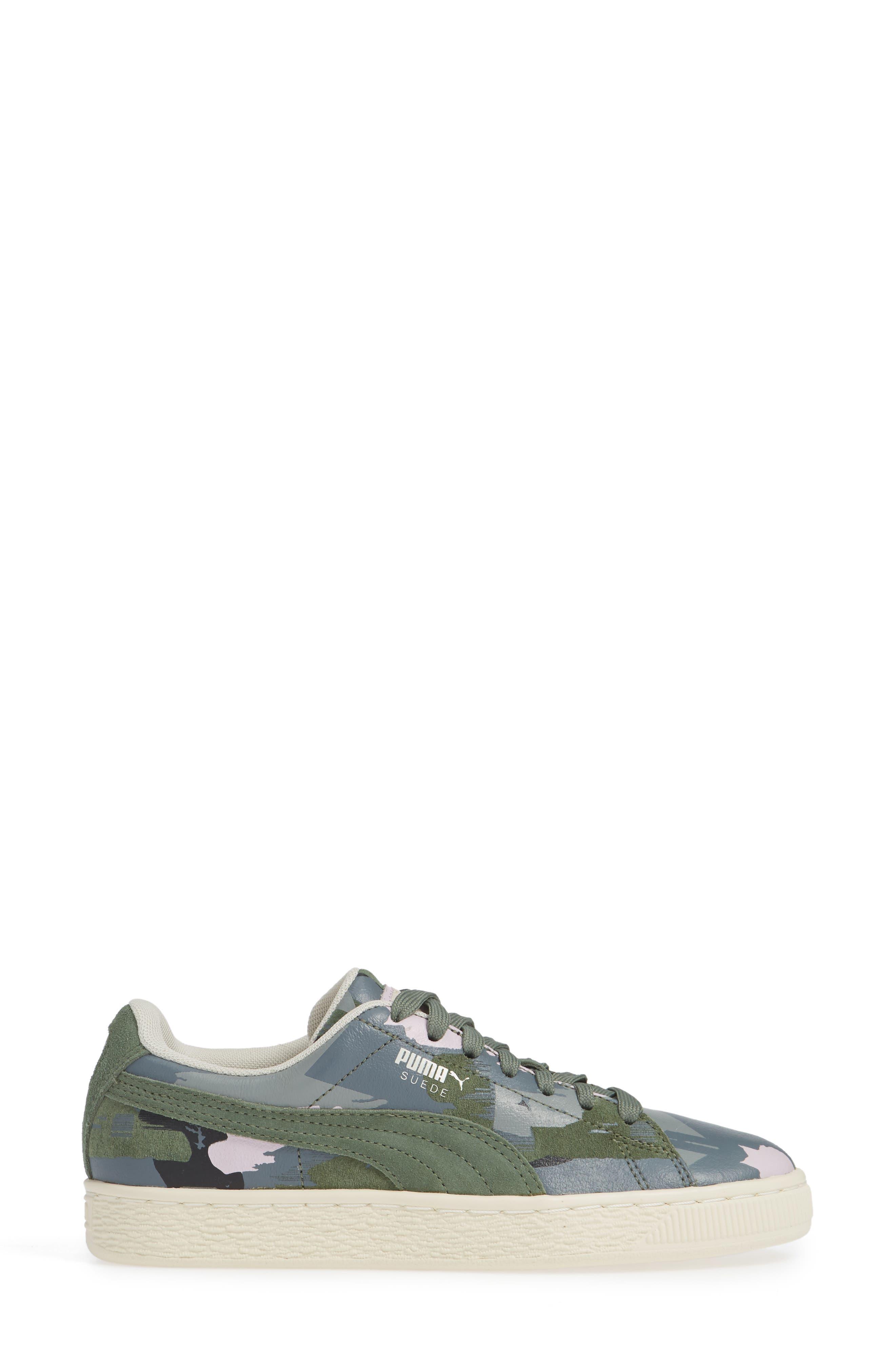 'Suede Classic' Sneaker,                             Alternate thumbnail 4, color,                             Laurel Wreath-White-Orchid