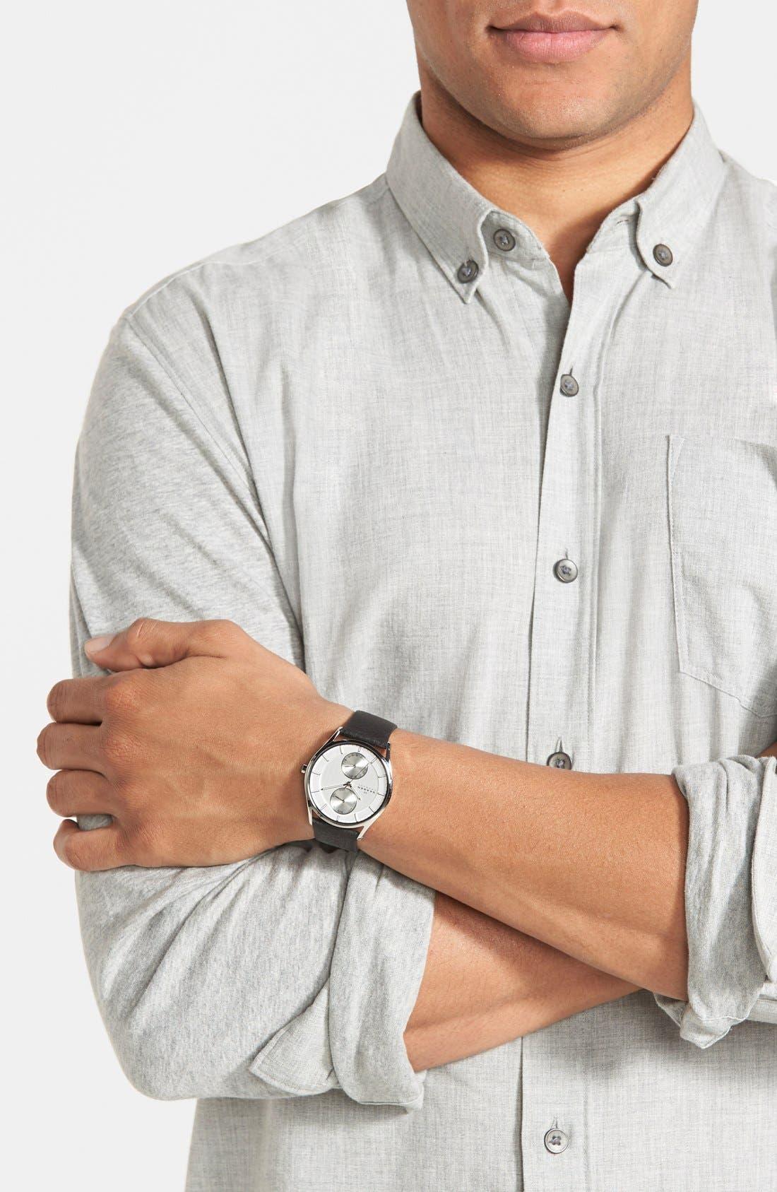 Alternate Image 4  - Skagen 'Holst' Multifunction Leather Strap Watch, 40mm