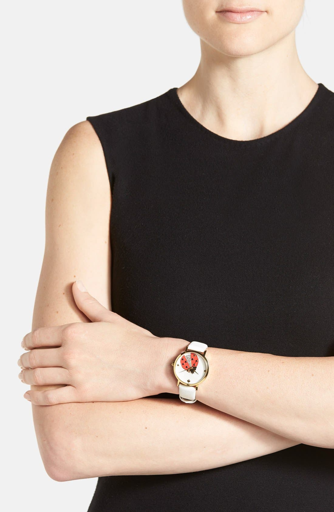 Alternate Image 5  - kate spade new york 'metro' ladybug dial leather strap watch, 34mm