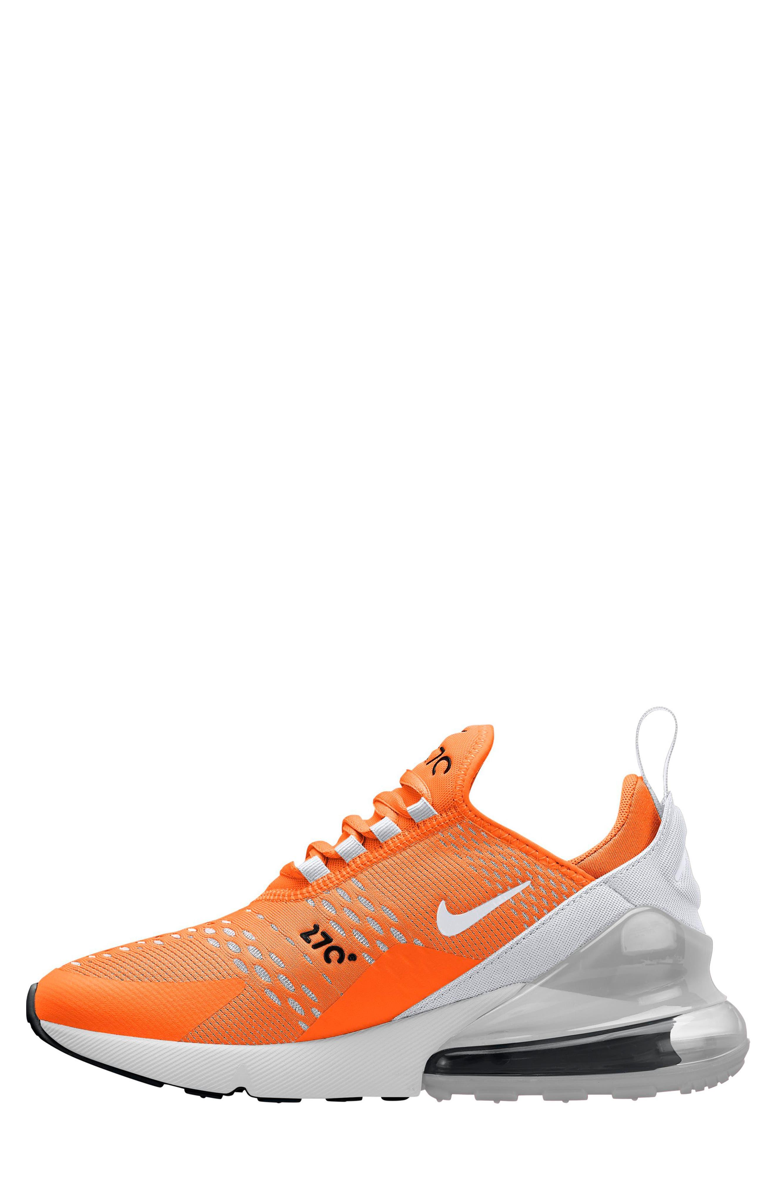 Air Max 270 Sneaker,                             Alternate thumbnail 2, color,                             Total Orange/ White-Black