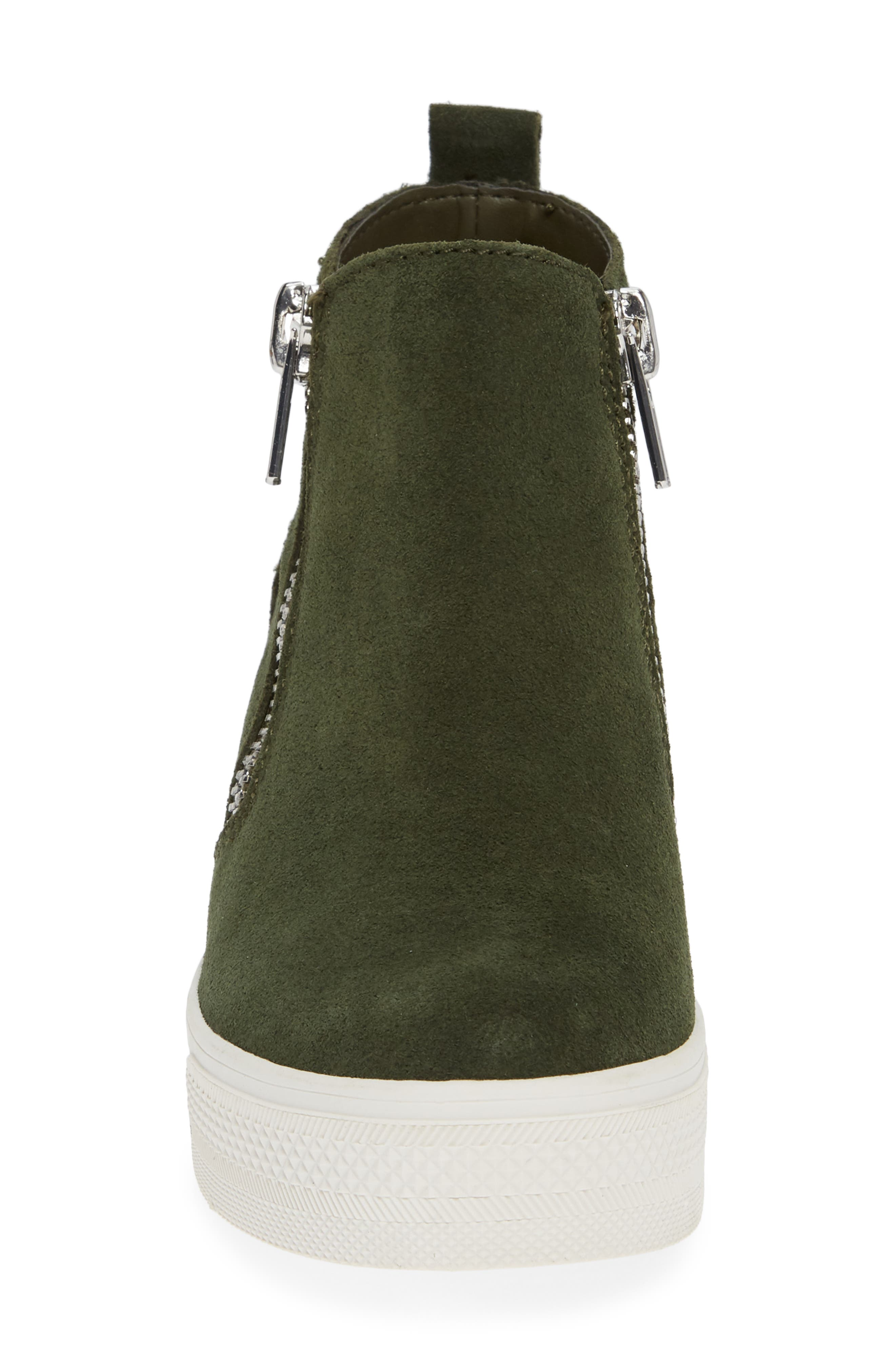 Wedgie High Top Platform Sneaker,                             Alternate thumbnail 3, color,                             Olive/ Olive Suede