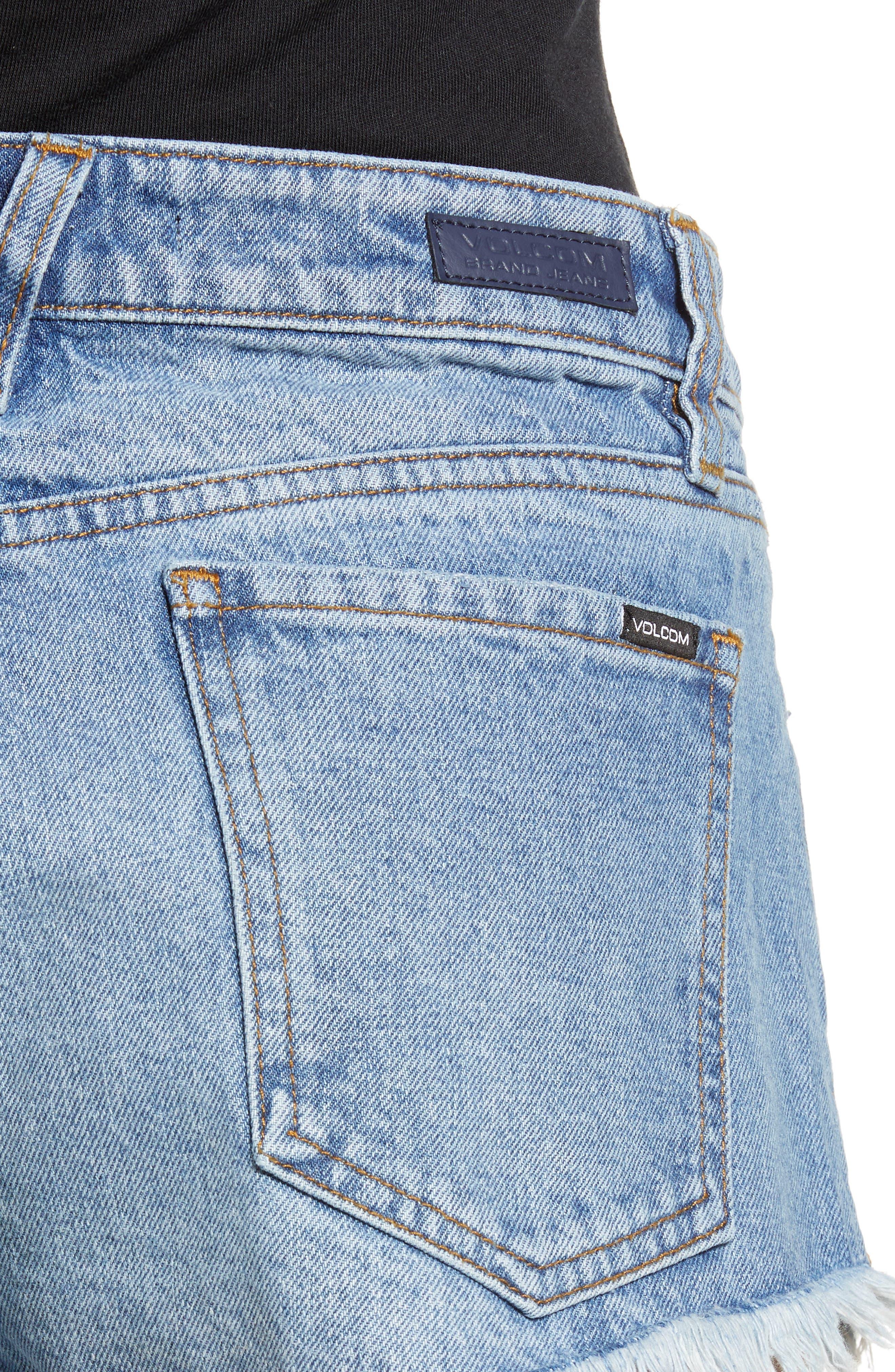 Stoney Cutoff Denim Shorts,                             Alternate thumbnail 4, color,                             Baja Indigo