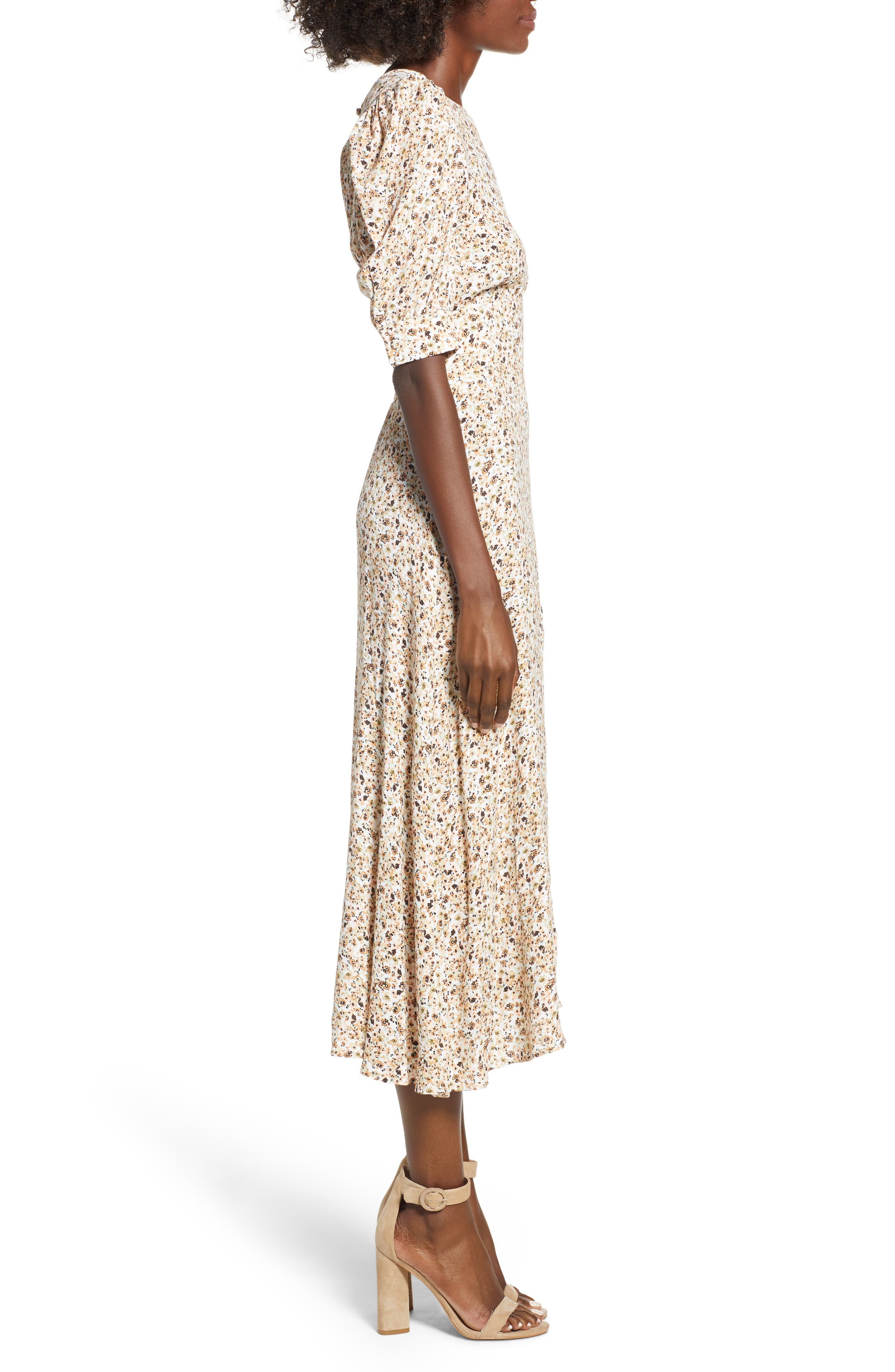 Lala Midi Dress,                             Alternate thumbnail 4, color,                             Beige Ditsy