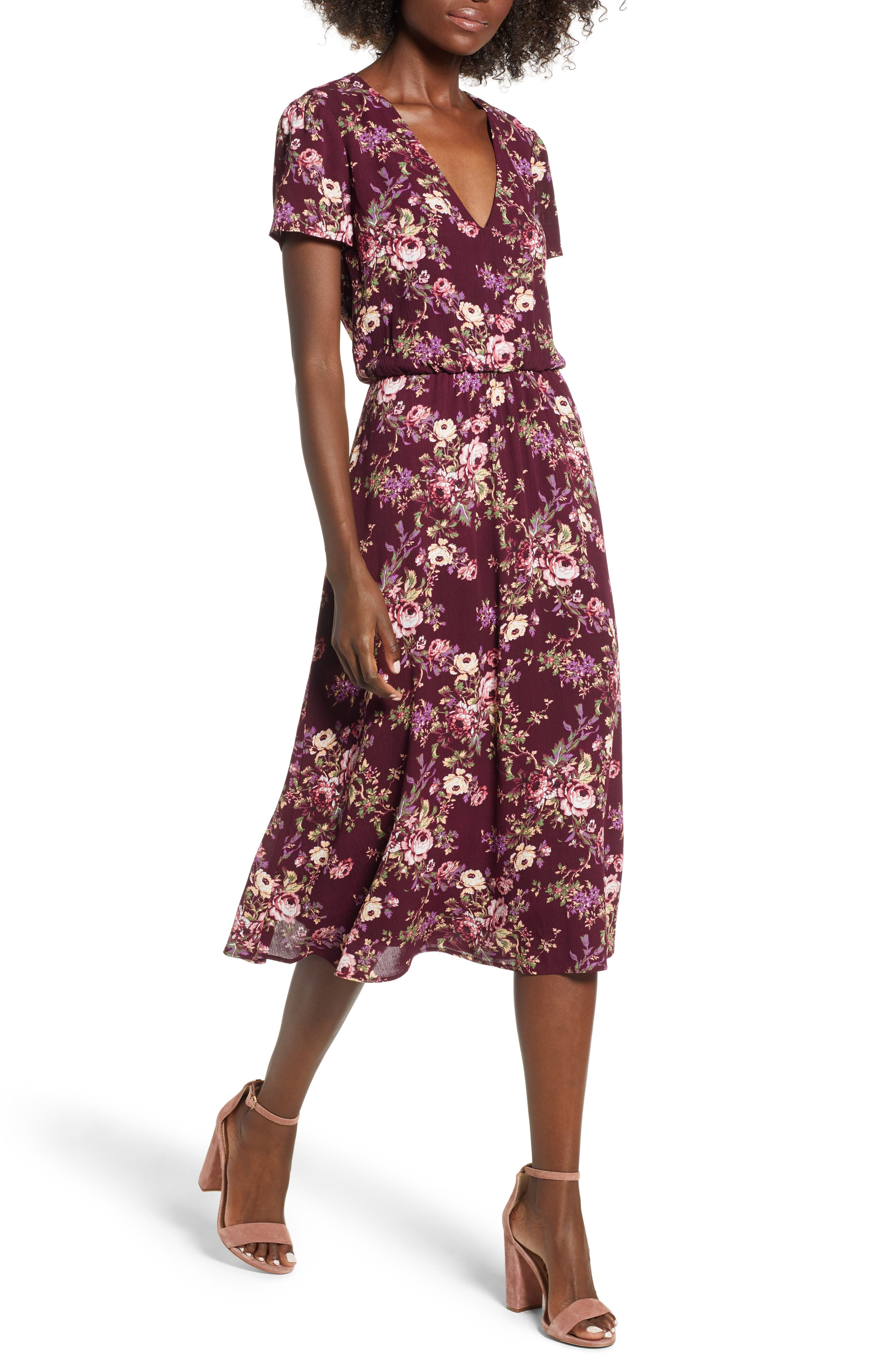 Blouson Midi Dress,                             Main thumbnail 1, color,                             Oxblood Tapestry Floral