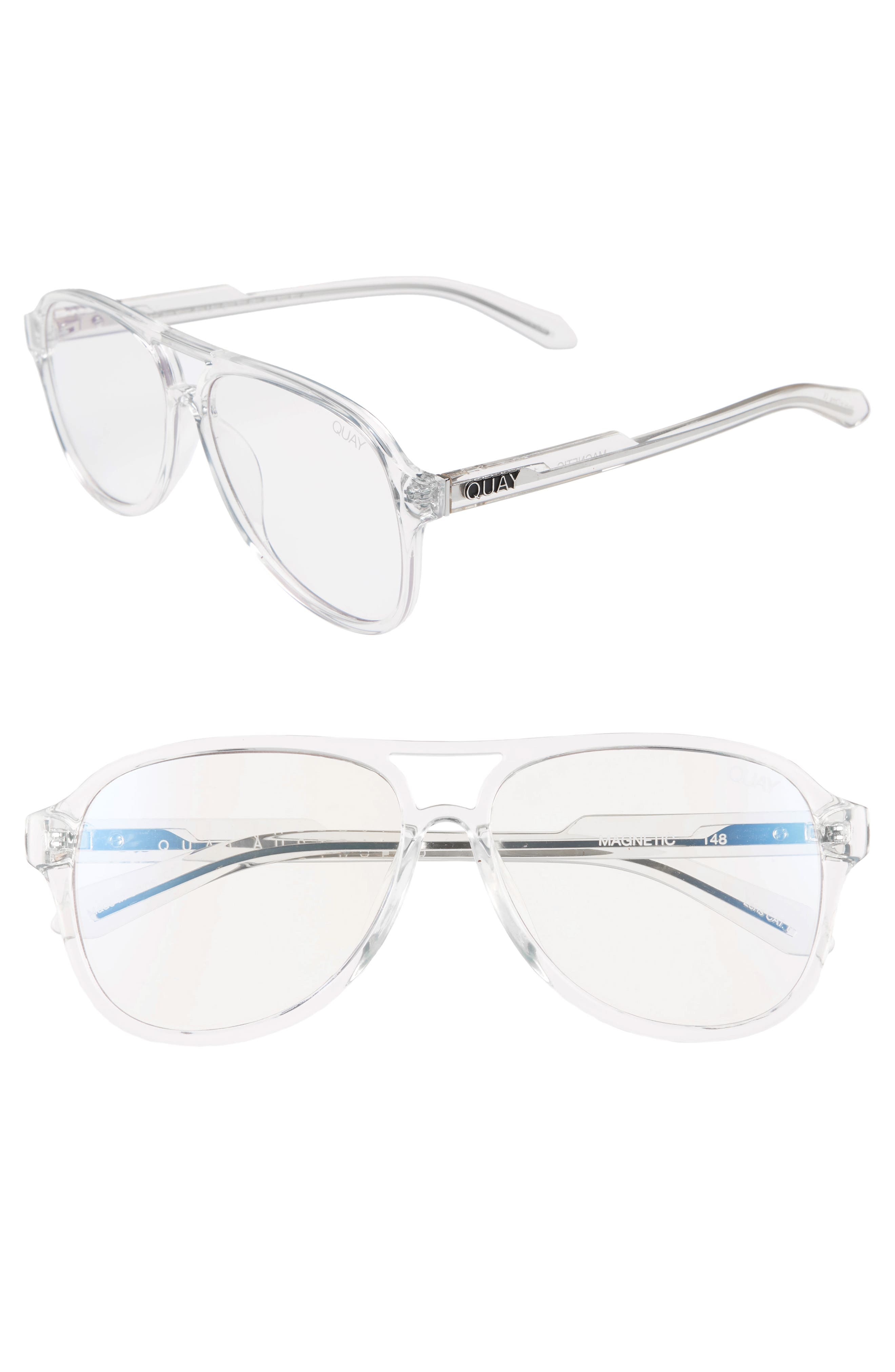 QUAY MAGNETIC 55MM AVIATOR FASHION GLASSES - CLEAR/ CLEAR