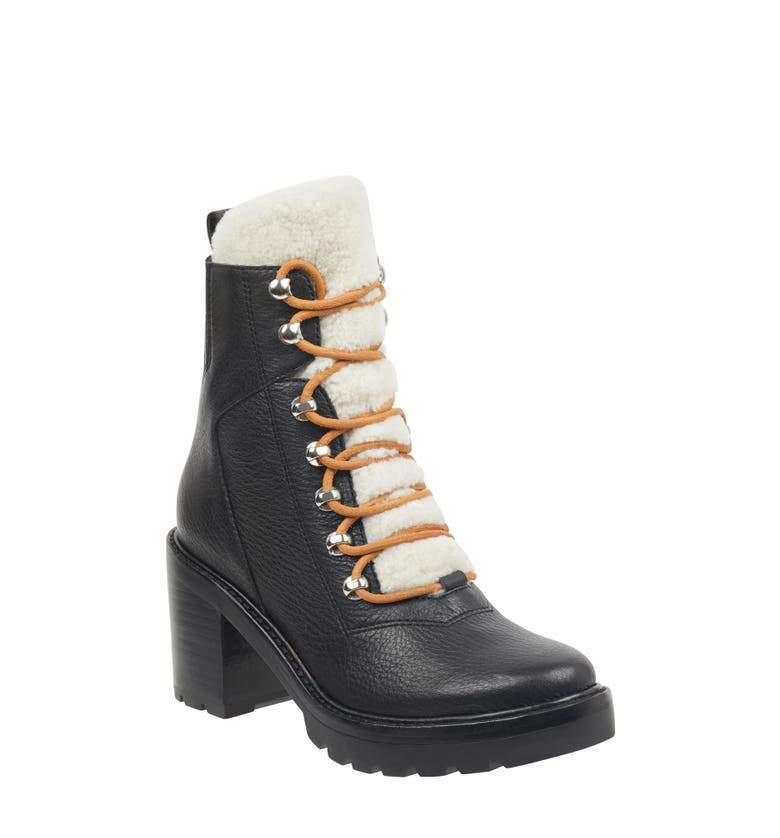 Combat Boot with Shearling Trim