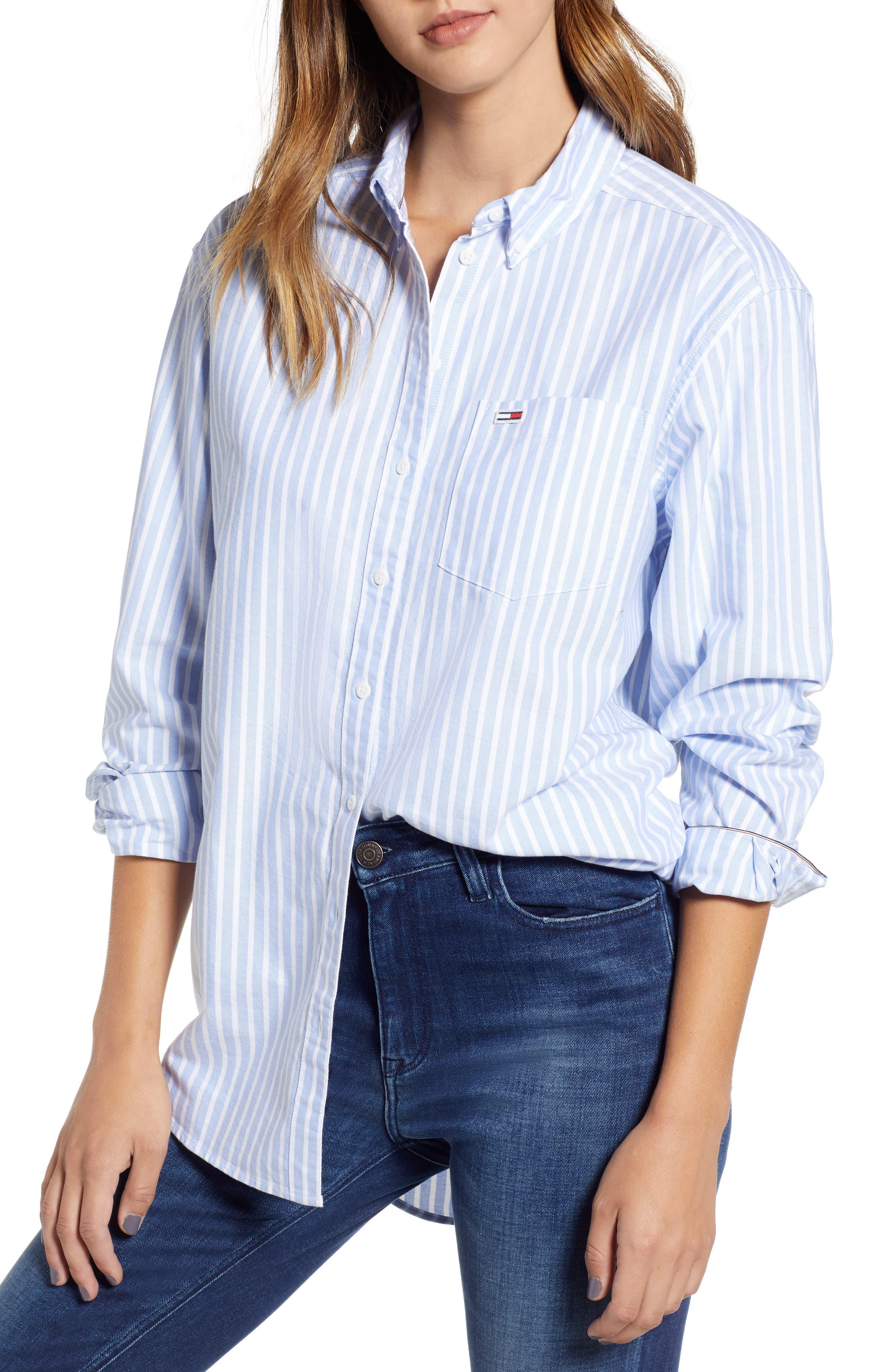 Classics Stripe Shirt,                             Main thumbnail 1, color,                             Light Blue / Bright White