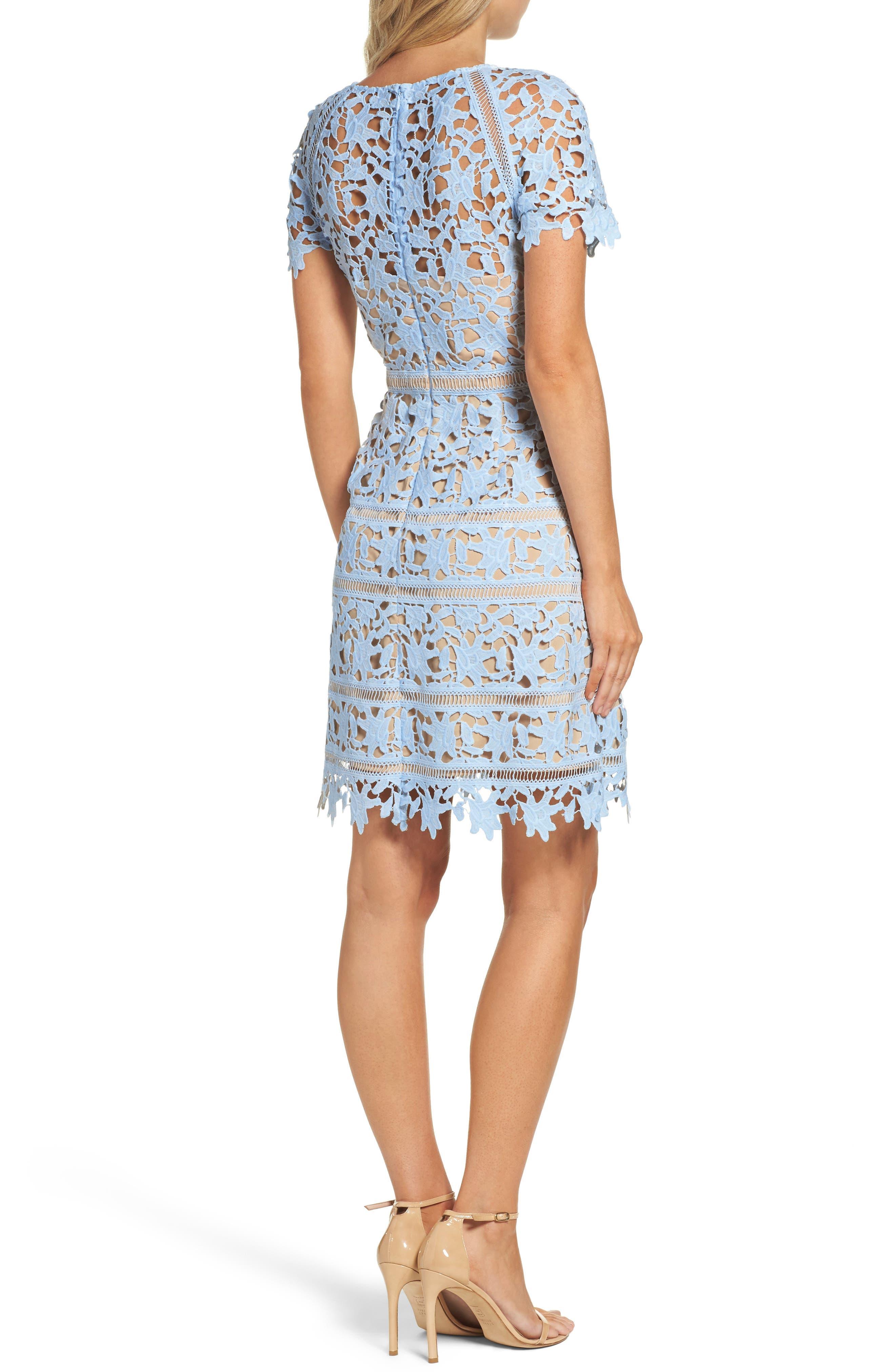 Crochet Overlay Dress,                             Alternate thumbnail 2, color,                             Blue
