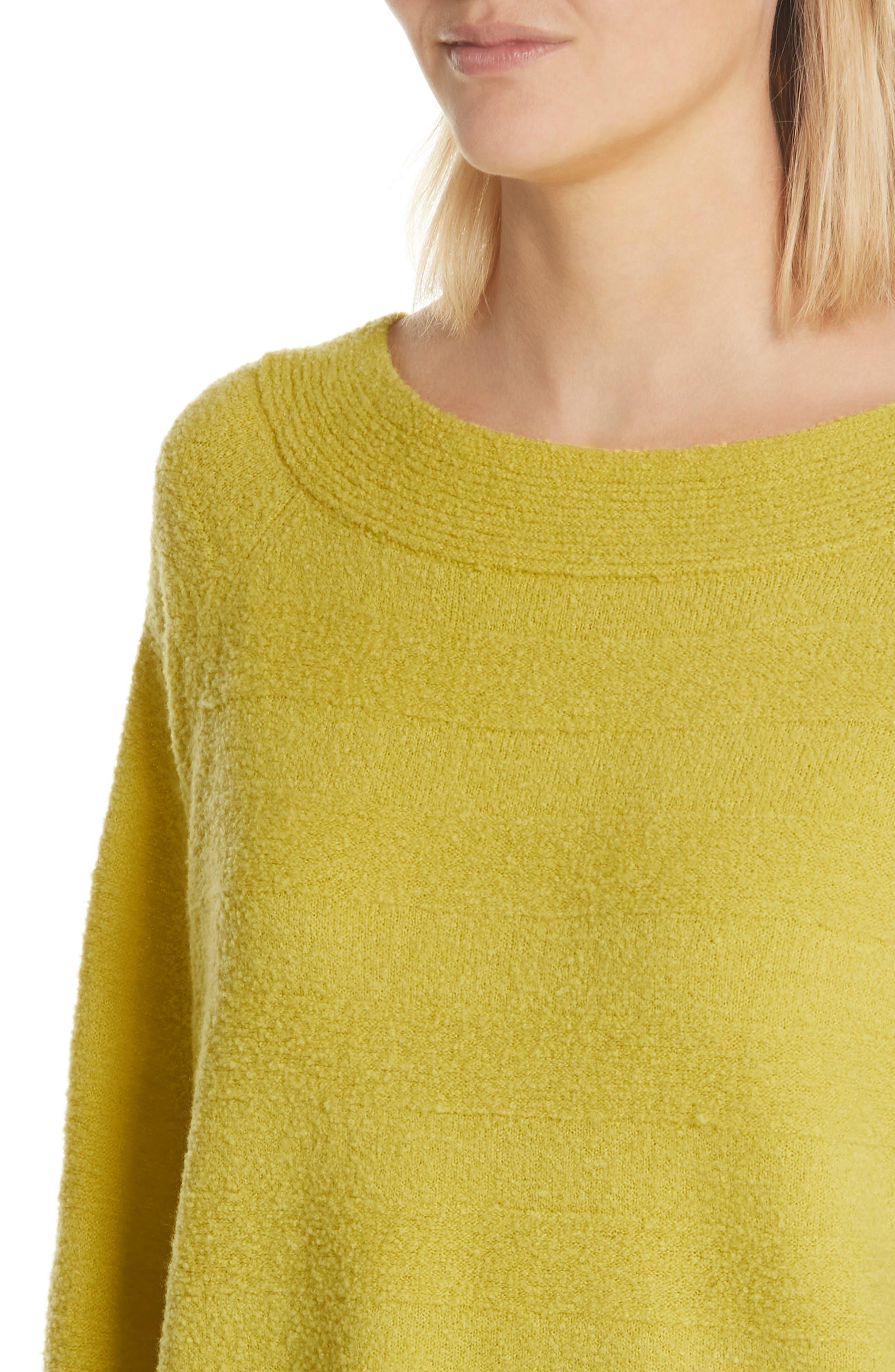 Merino Wool Blend Knit Sweater,                             Alternate thumbnail 4, color,                             Zest