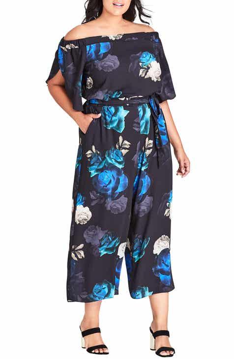 b02a6dc7bd5 City Chic Electric Floral Print Crop Jumpsuit (Plus Size)