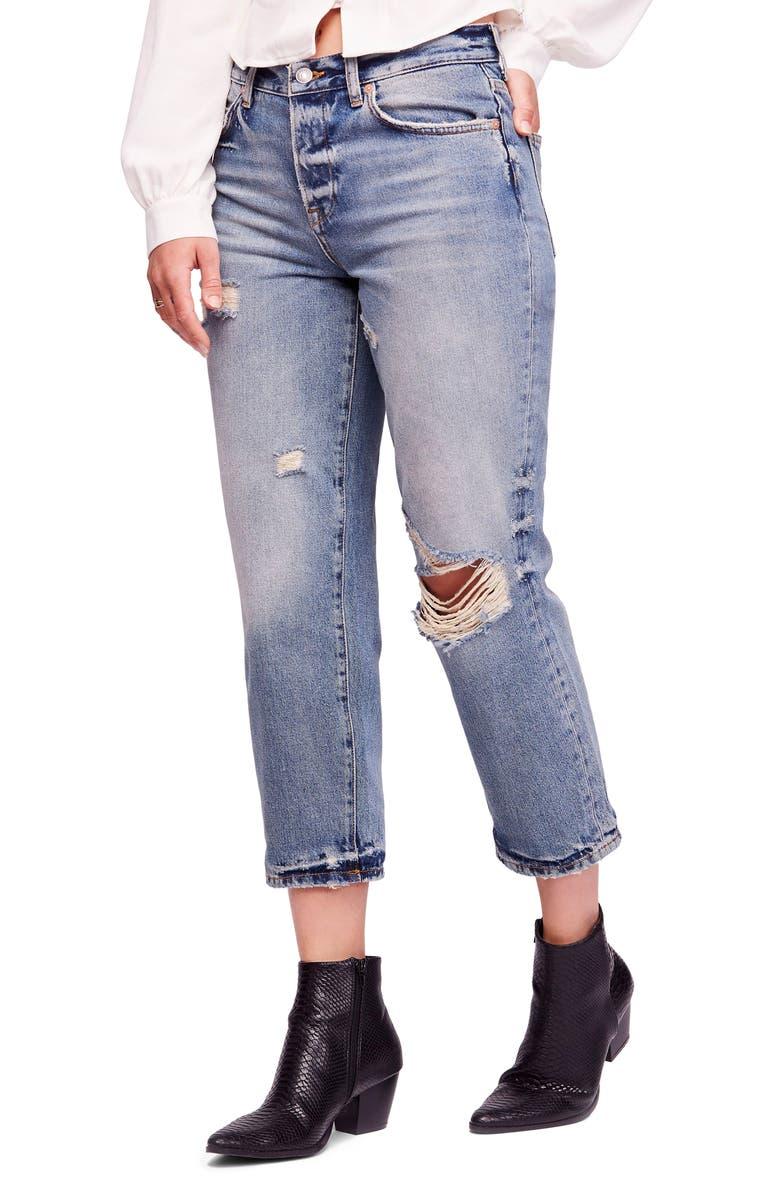 Ripped Crop Boyfriend Jeans