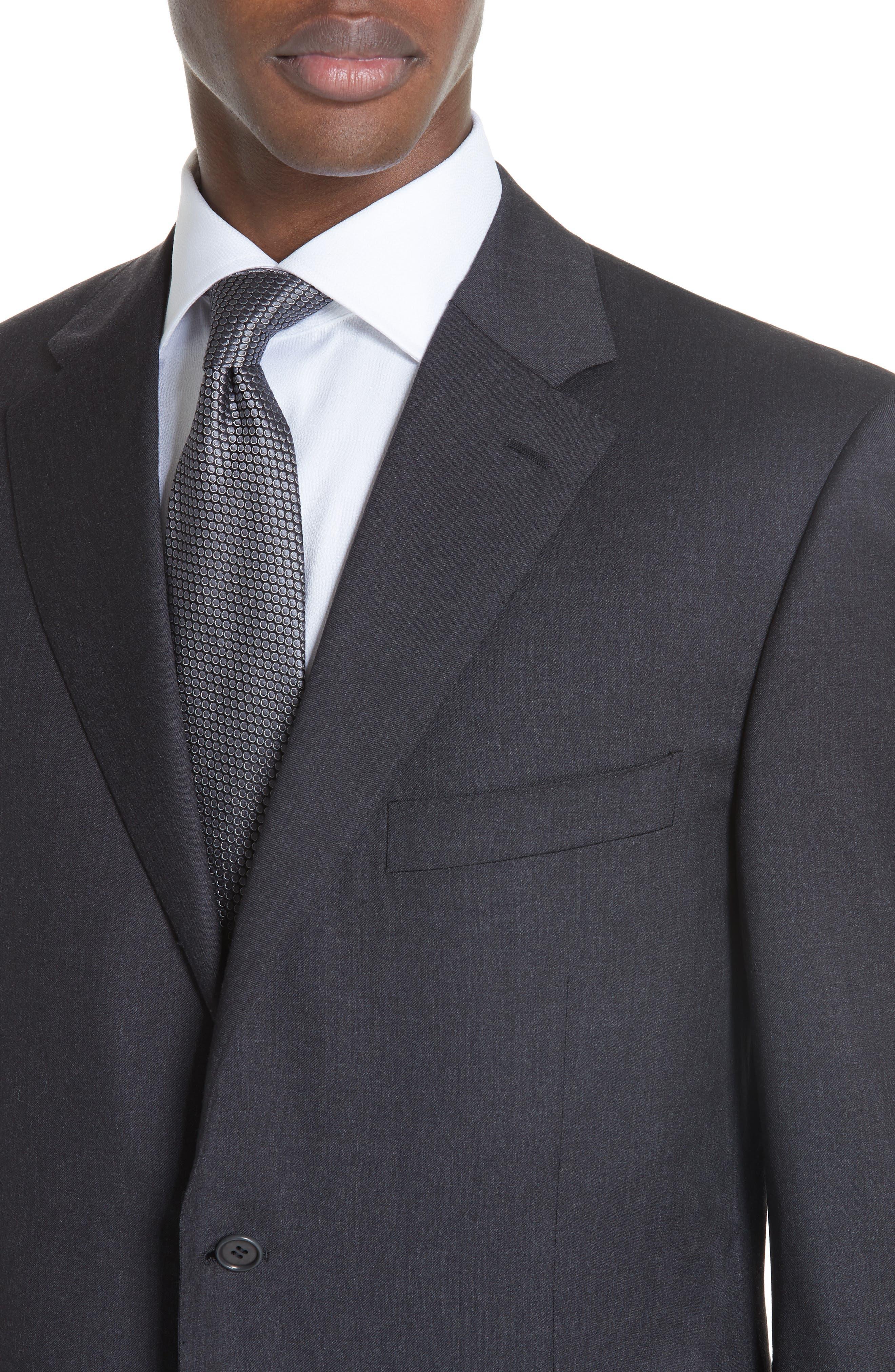 Trim Fit Wool Suit,                             Alternate thumbnail 5, color,                             Charcoal