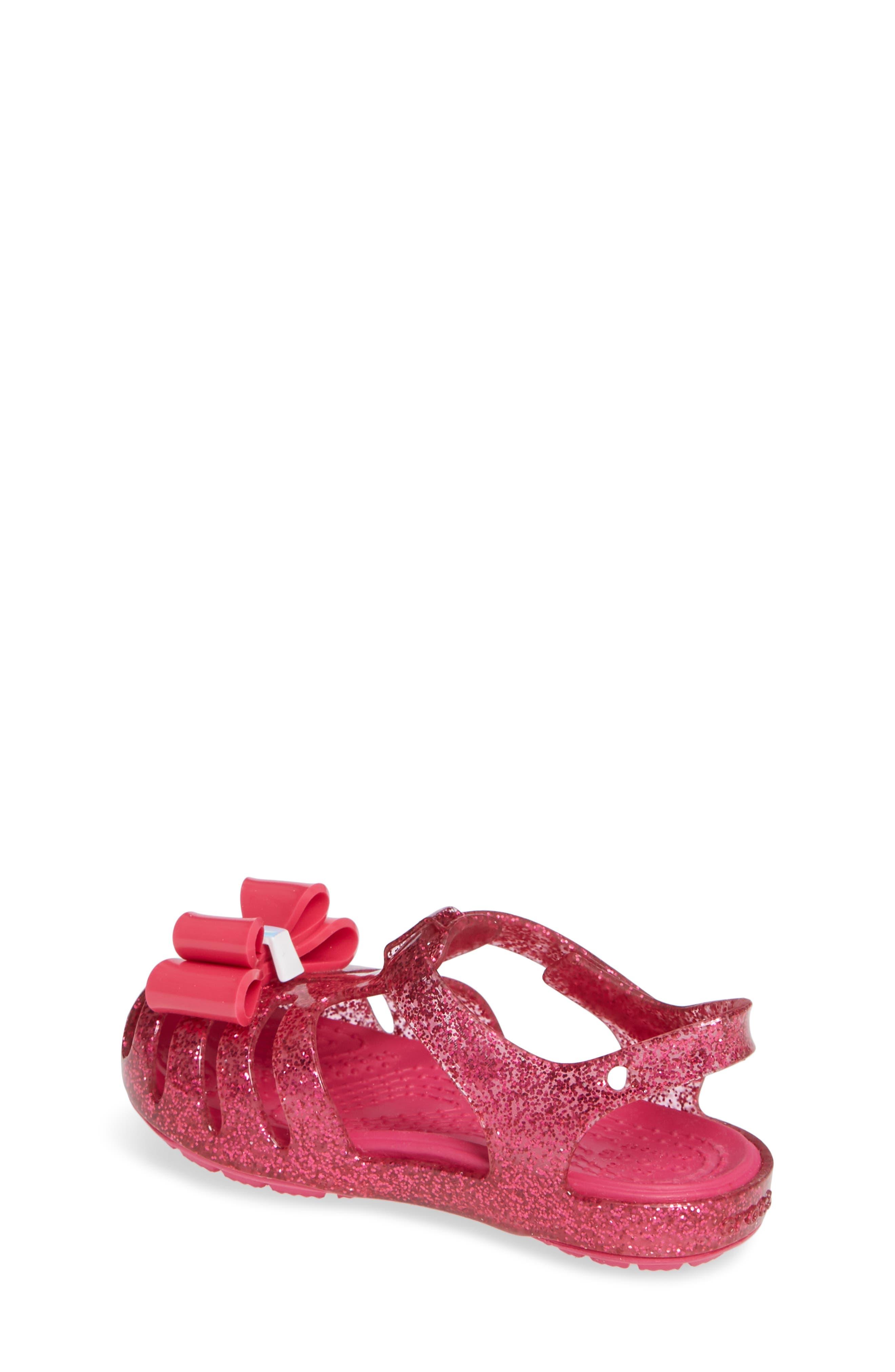 Isabella Bow Glitter Fisherman Sandal,                             Alternate thumbnail 2, color,                             Candy Pink
