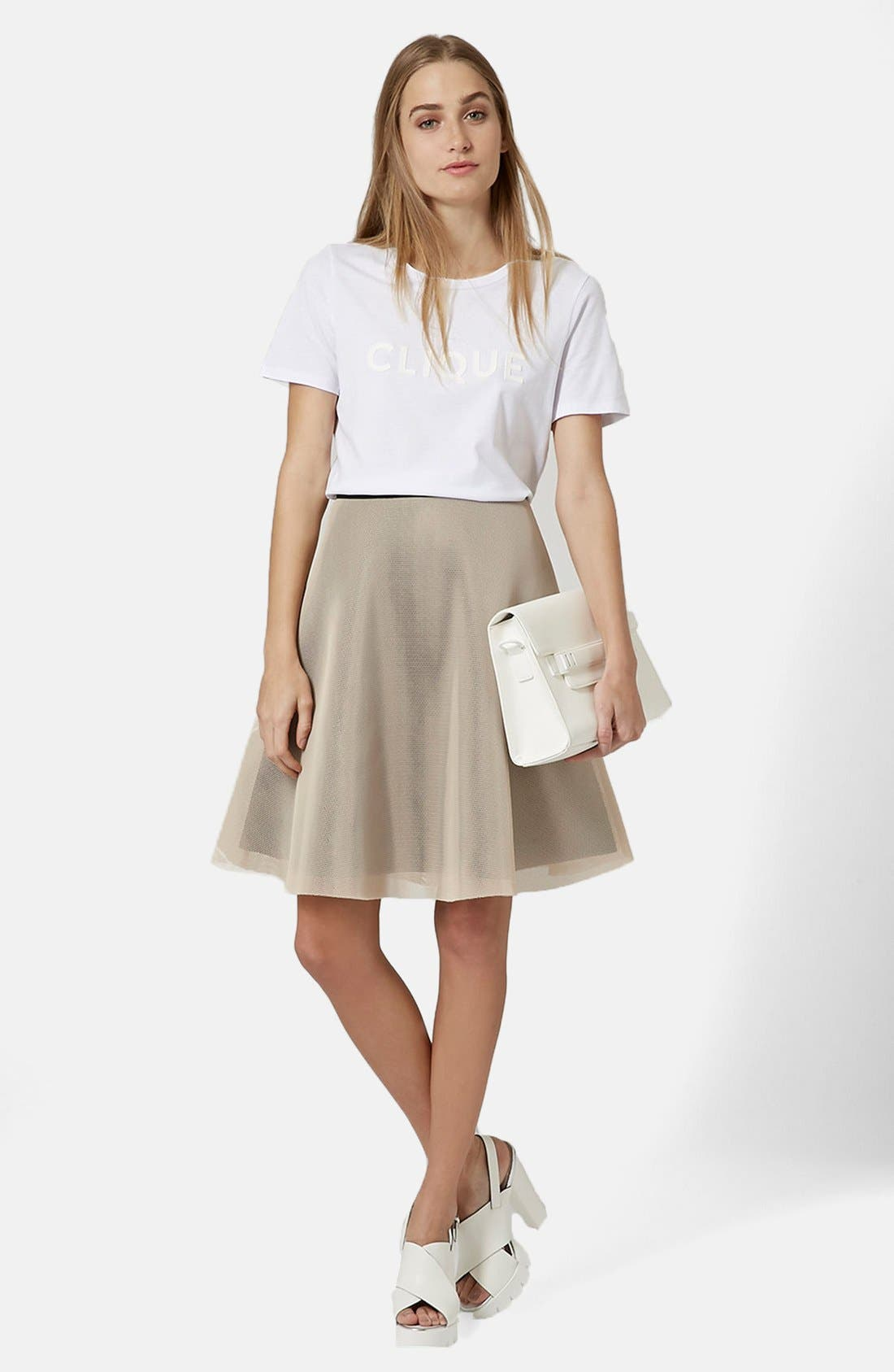 Alternate Image 5  - Topshop Ruffled A-Line Mesh Skirt