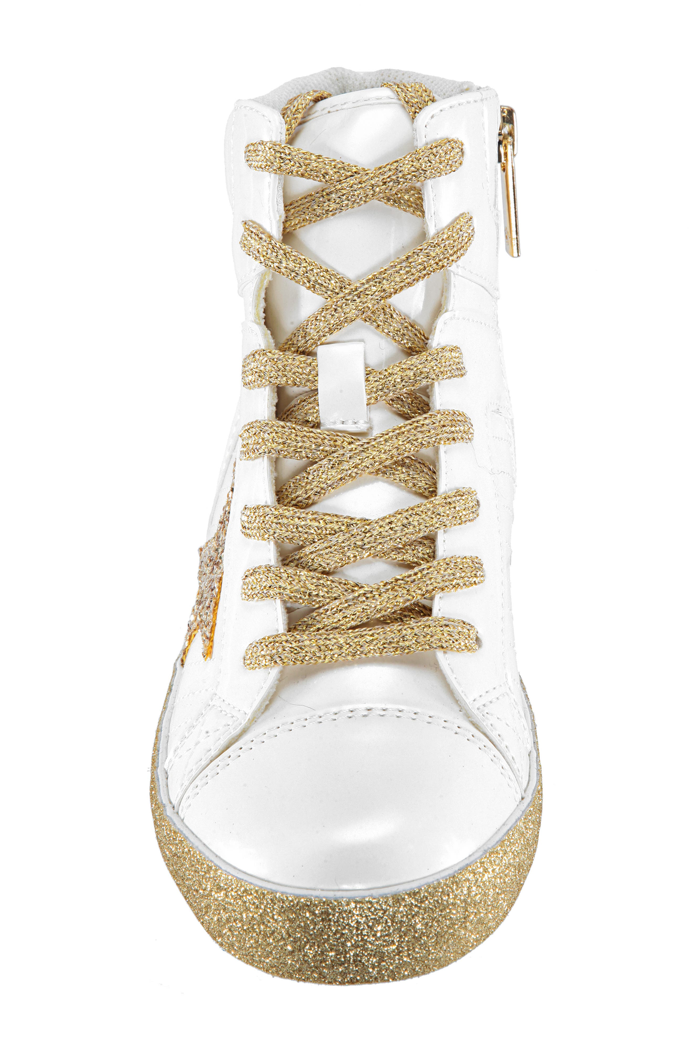 Jesy Glitter High Top Sneaker,                             Alternate thumbnail 6, color,                             White Pearlized Patent