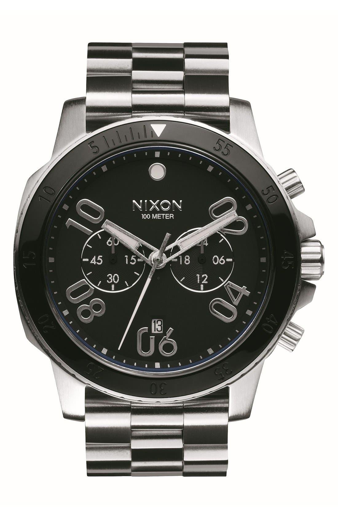 'Ranger' Chronograph Bracelet Watch, 44mm,                         Main,                         color, Silver/ Black