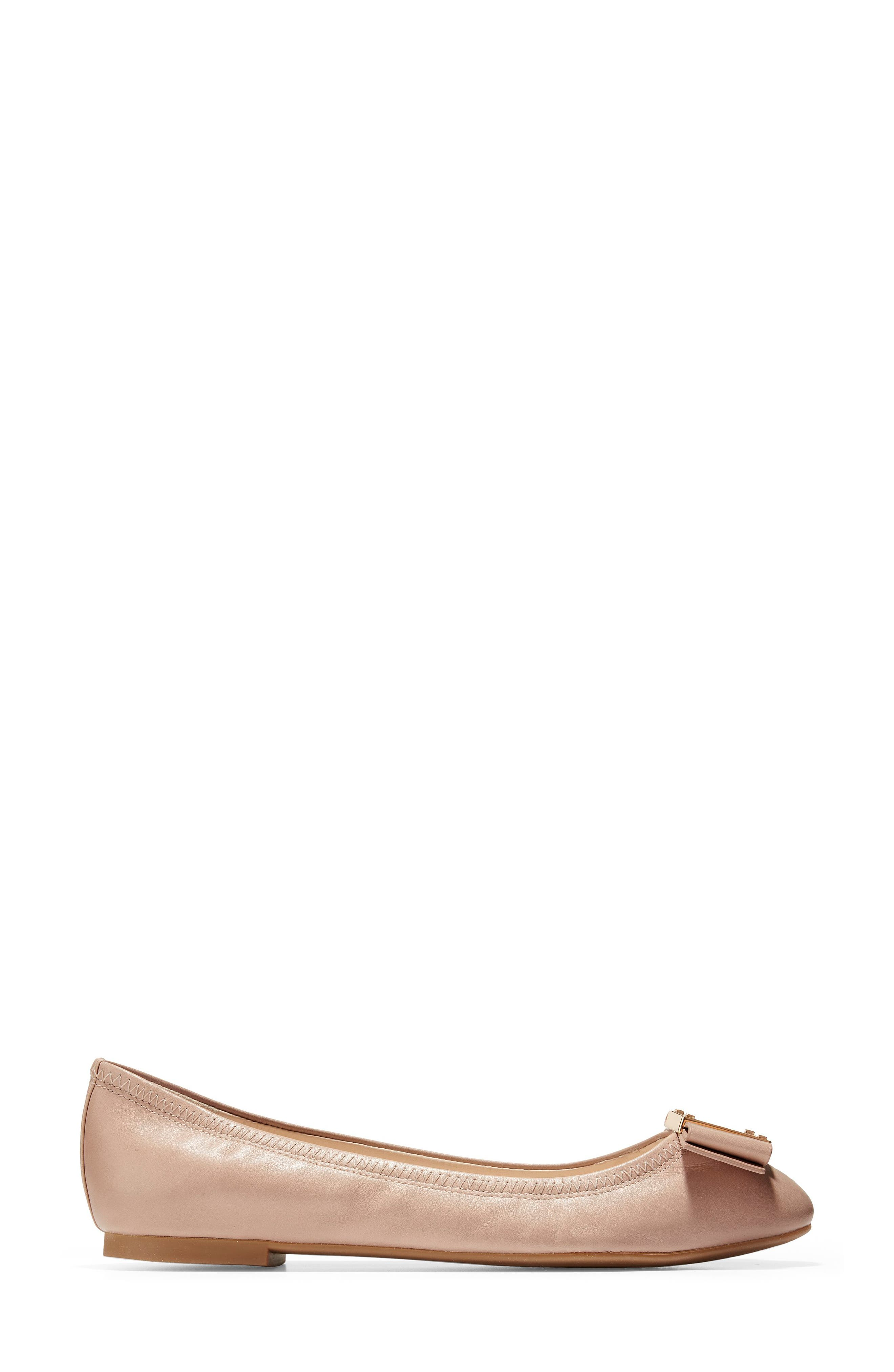 Tali Modern Bow Ballet Flat,                             Alternate thumbnail 3, color,                             Nude Leather