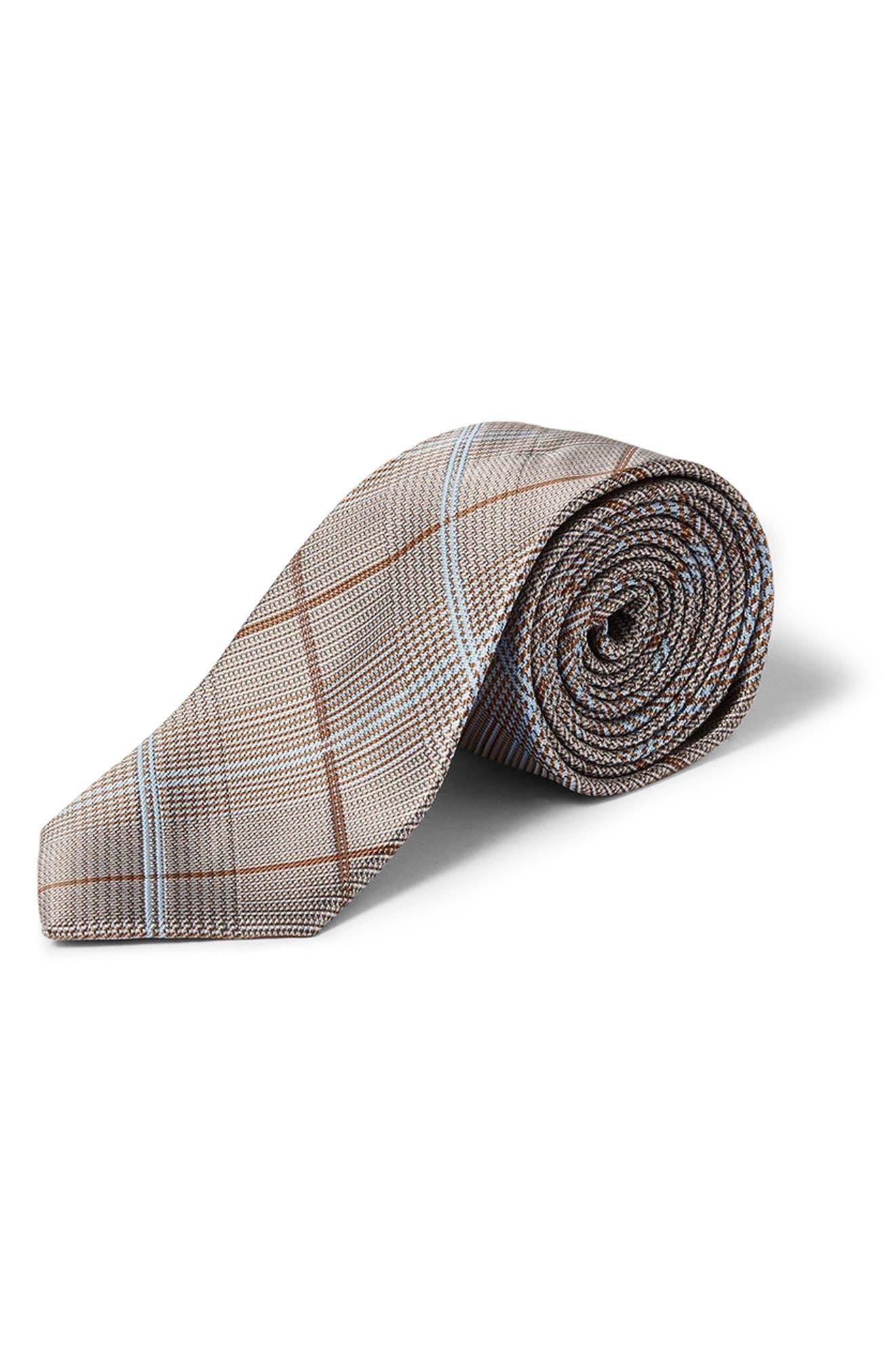 Plaid Tie,                         Main,                         color, Grey