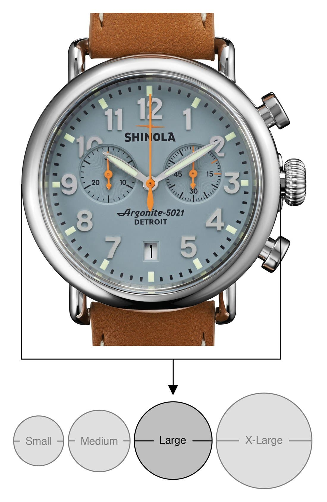 'The Runwell Chrono' Leather Strap Watch, 41mm,                             Alternate thumbnail 5, color,                             Tan/ Slate