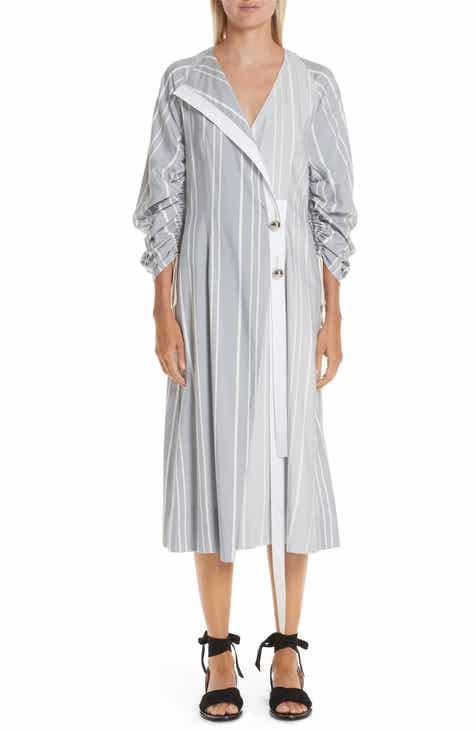 Yigal Azrouël Ruched Stripe Shirtdress
