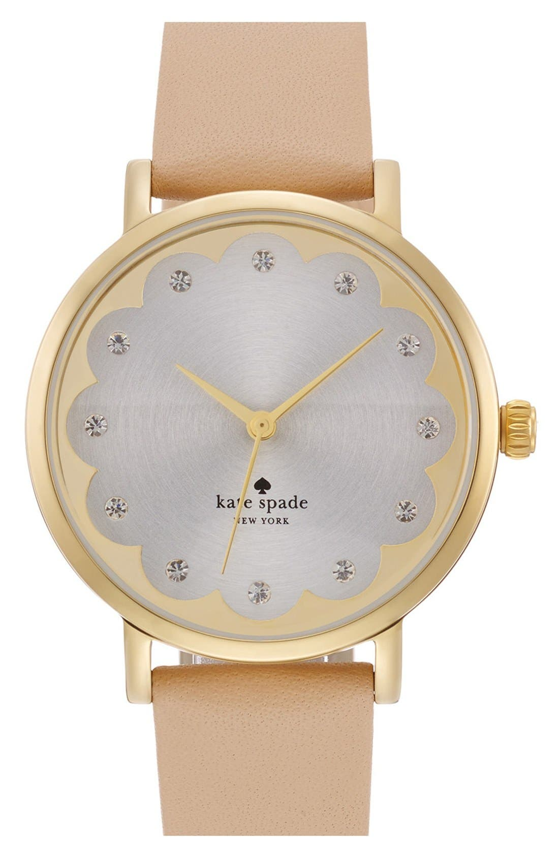 Alternate Image 1 Selected - kate spade new york 'metro' scallop dial leather strap watch, 34mm