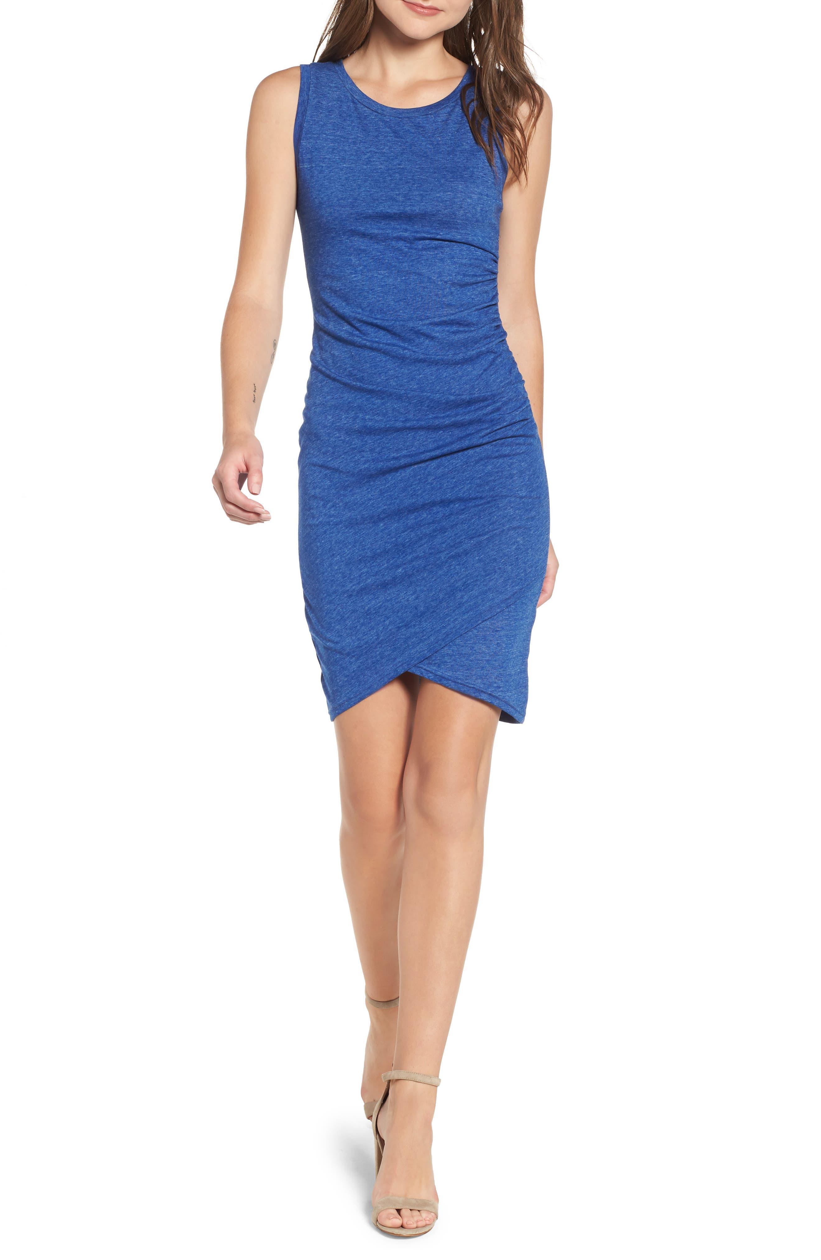 Ruched Body-Con Tank Dress,                         Main,                         color, Blue Mazarine Hthr