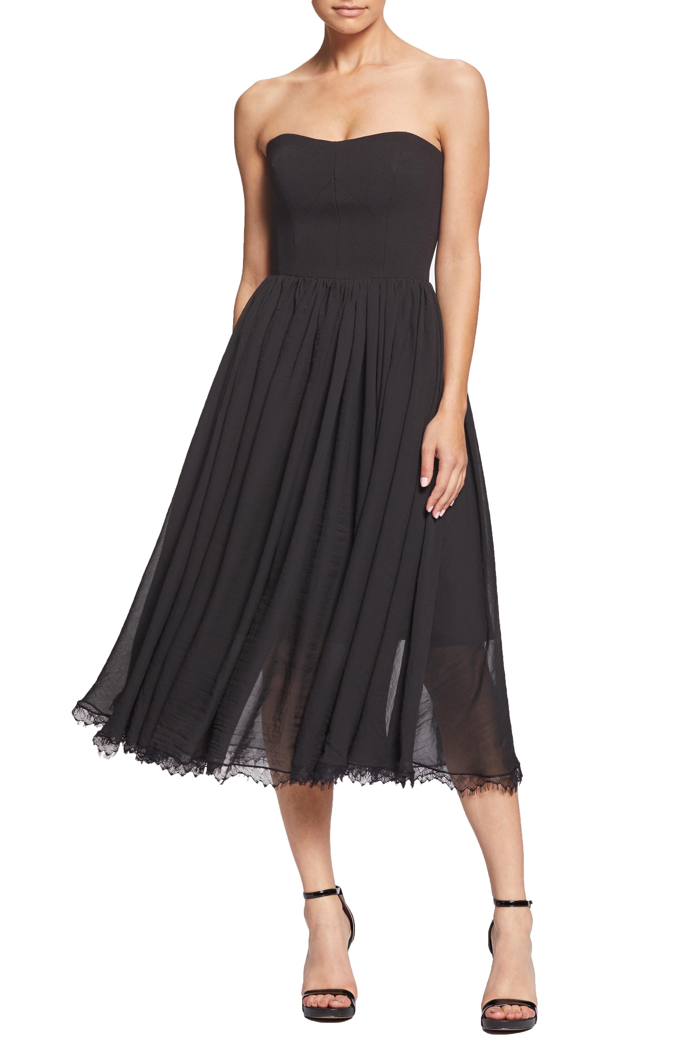 Strapless Black Cocktail Dress