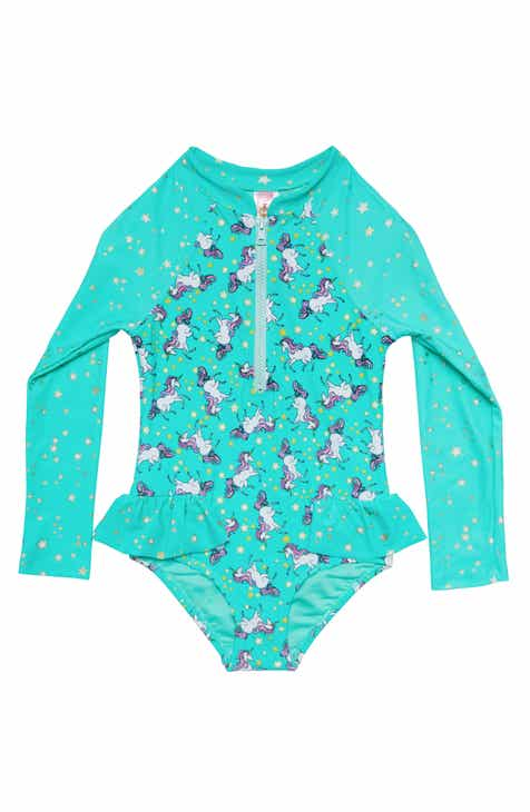 6826638e27 Hula Star Stardust Dream One-Piece Rashguard Swimsuit (Toddler Girls & Little  Girls)