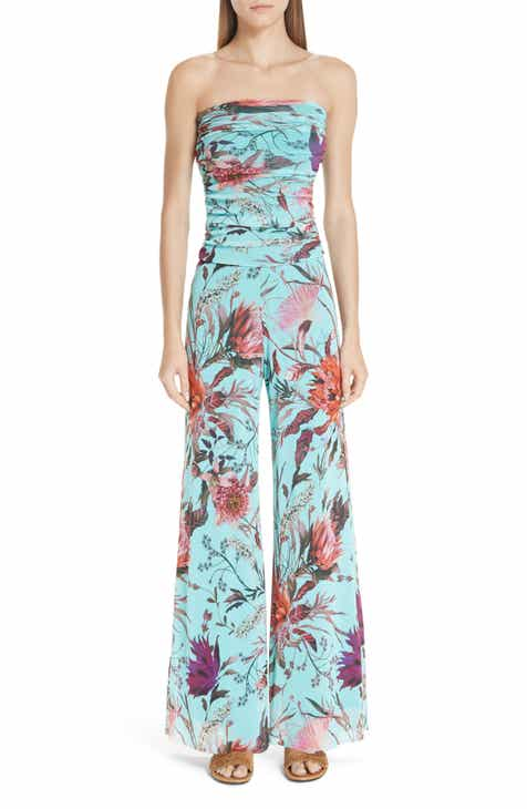 Fuzzi Floral Tulle Strapless Jumpsuit by FUZZI
