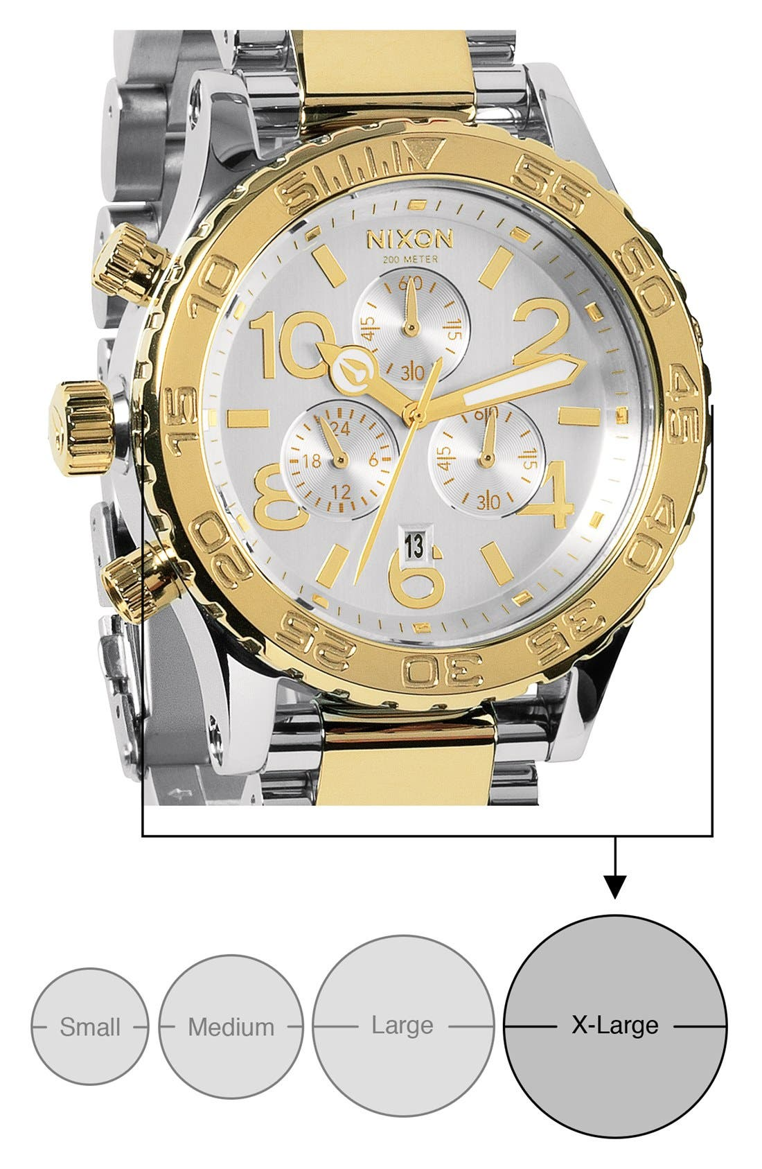 'The 42-20 Chrono' Watch, 42mm,                             Alternate thumbnail 5, color,                             Silver/ Champagne Gold