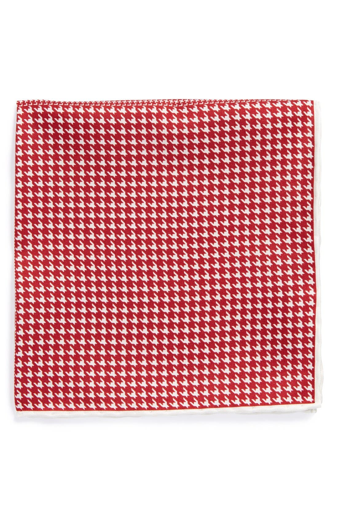 Houndstooth Silk Pocket Square,                         Main,                         color, Red