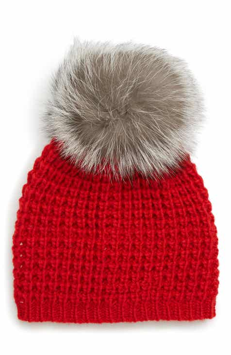 Kyi Kyi Genuine Fox Pompom Hat 0ed85b7adc4