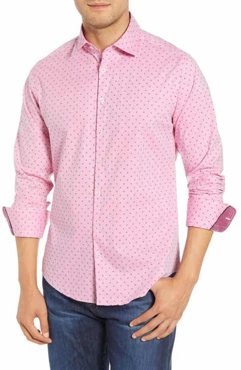 Stone Rose Trim Fit Print Sport Shirt
