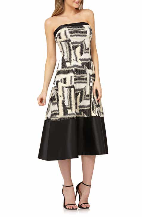 Kay Unger Strapless Fit & Flare Tea-Length Dress