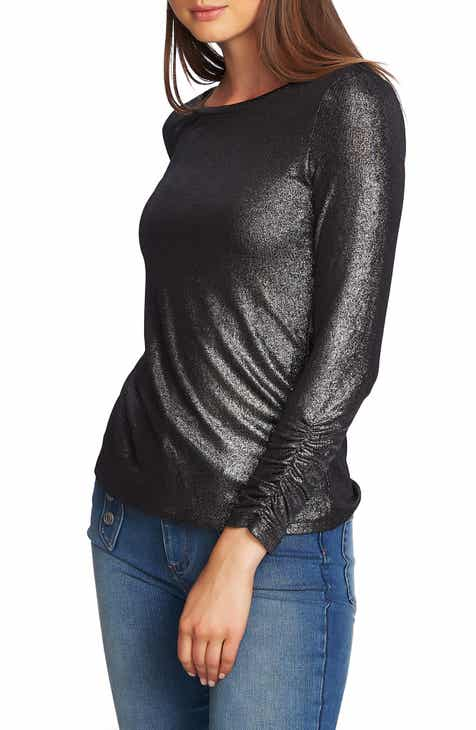 1.STATE Metallic Ruched Sleeve Top