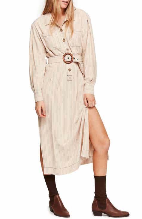 Free People Audrey Stripe Midi Shirtdress by FREE PEOPLE
