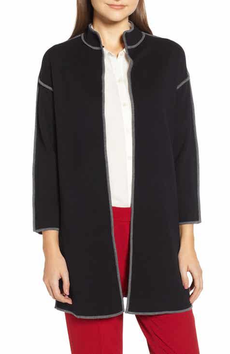 f042bddd738037 Anne Klein Piped Detail Nehru Sweater Coat