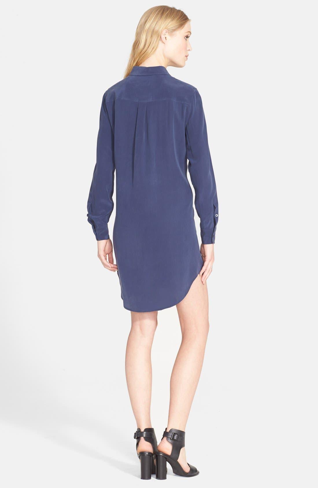 'Signature' Silk Shirtdress,                             Alternate thumbnail 2, color,                             Peacoat