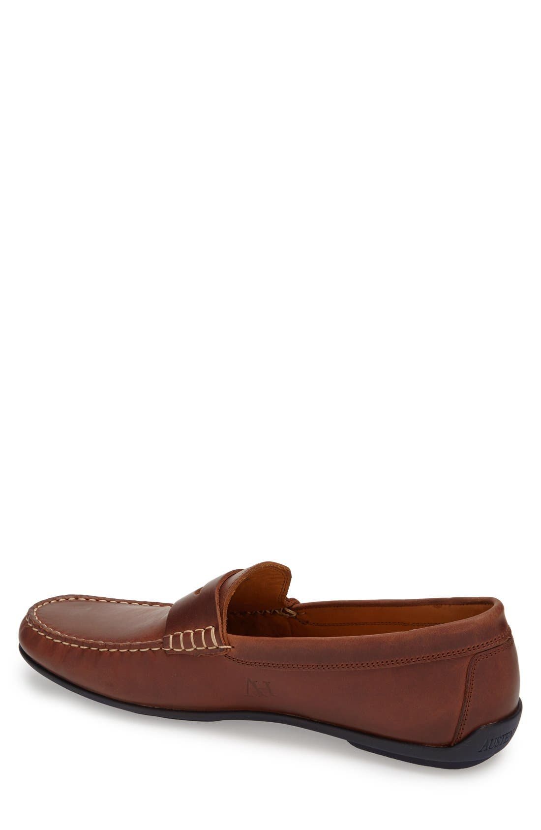 'Clinton' Leather Penny Loafer,                             Alternate thumbnail 2, color,                             Light Brown