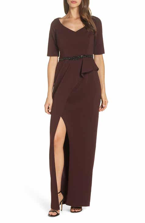 b036d129a135 Adrianna Papell Jeweled Front Belt Crepe Gown