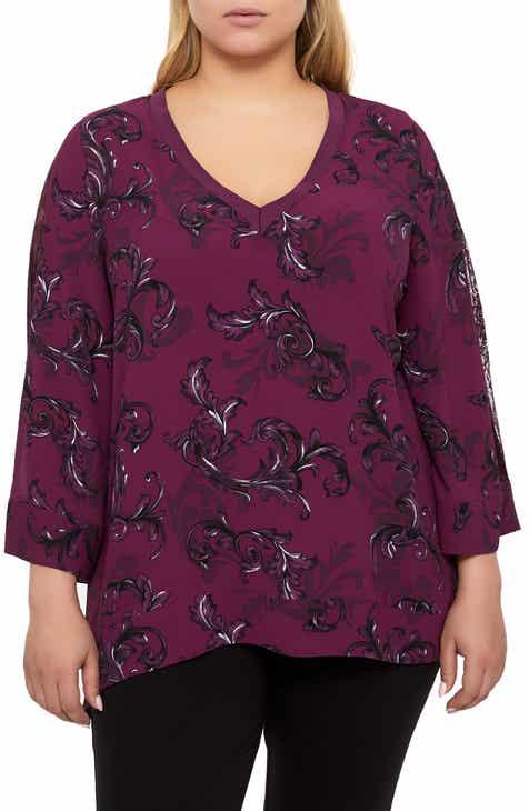 4390c22d56f33 Addition Elle Love and Legend Print Lace Inset Sharkbite Blouse (Plus Size)
